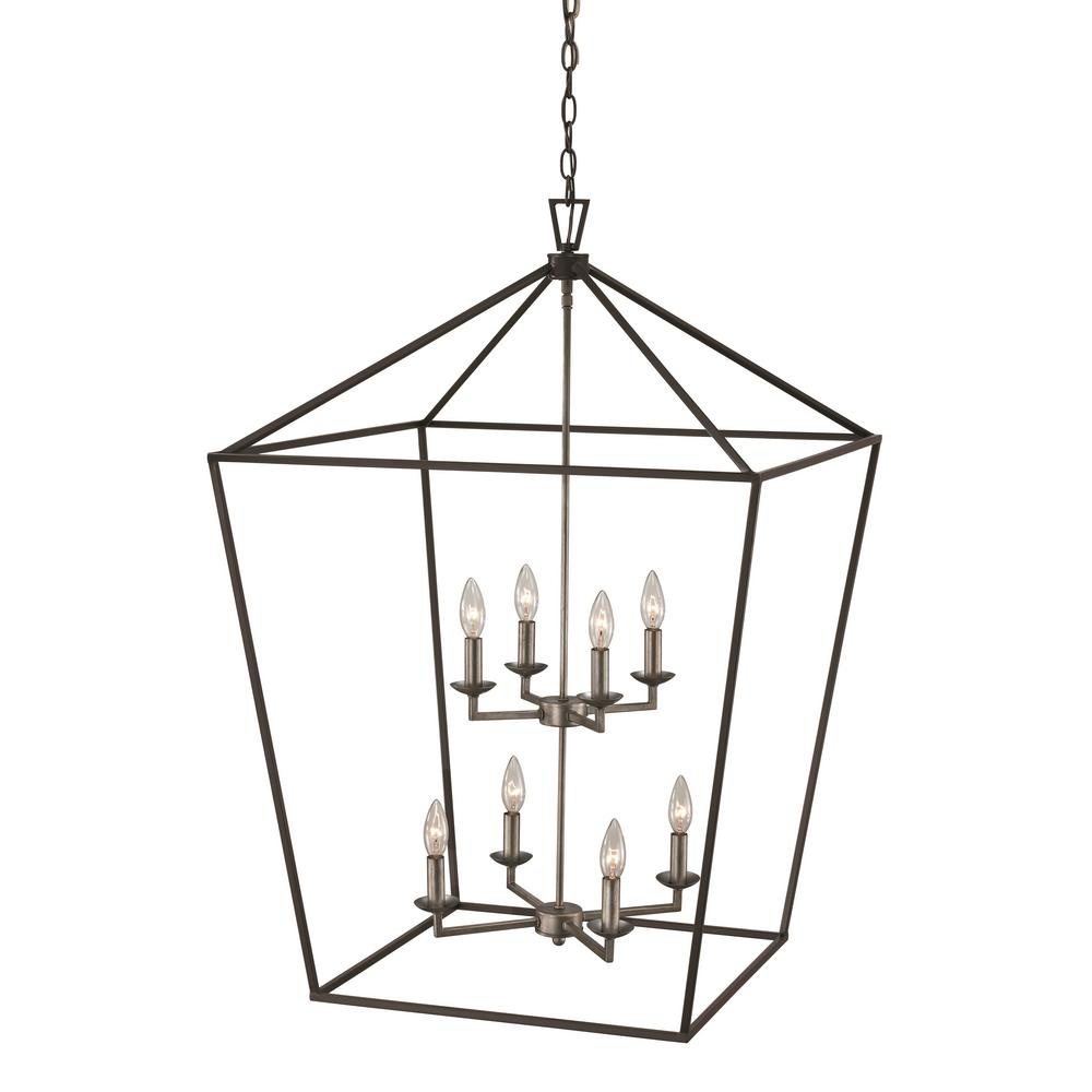 Bel Air Lighting Lacey 8 Light Antique Silver Leaf Pendant For Carmen 8 Light Lantern Geometric Pendants (View 2 of 30)