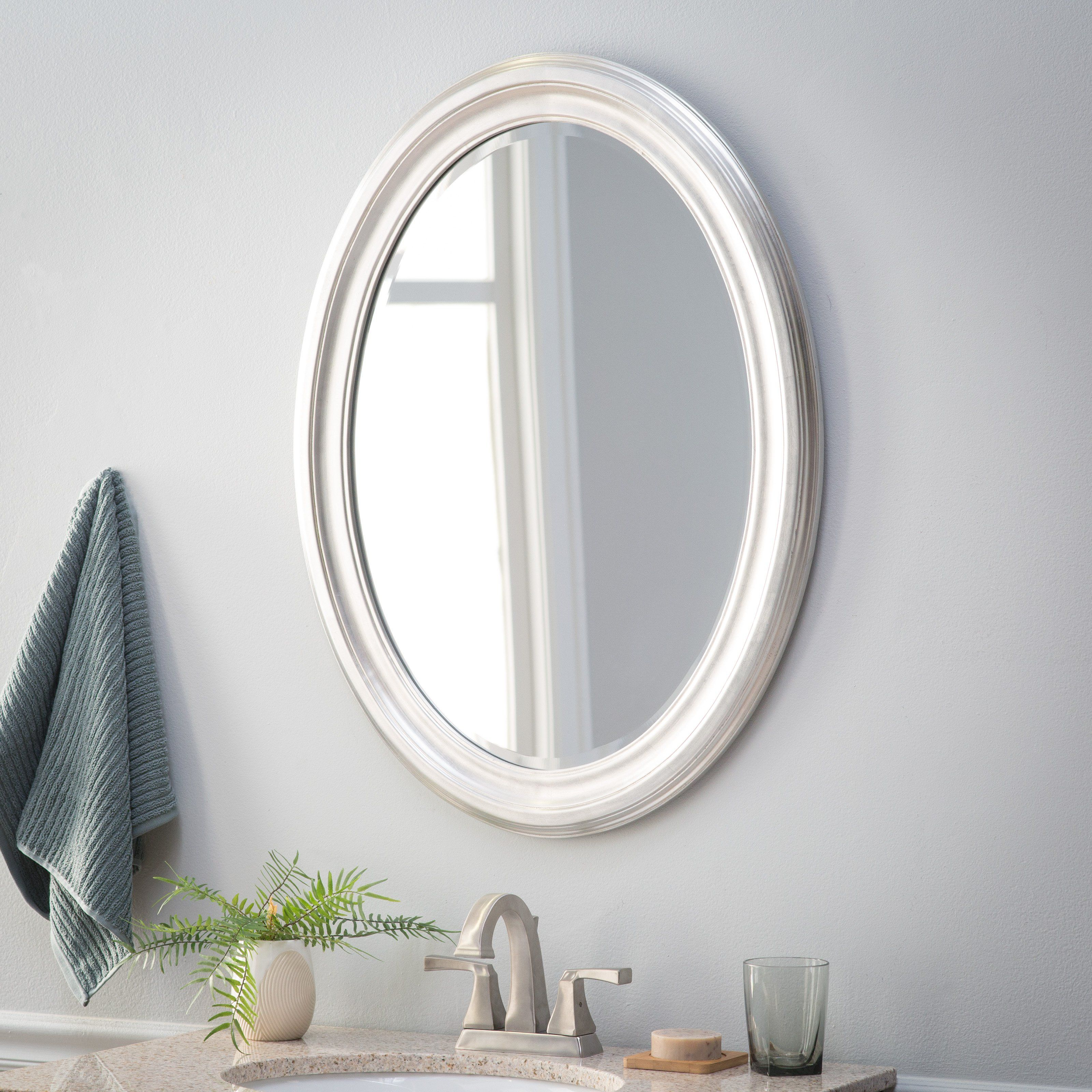 Belham Living Oval Wall Mirror - Brushed Nickel - 25W X 33H with Point Reyes Molten Round Wall Mirrors (Image 4 of 30)