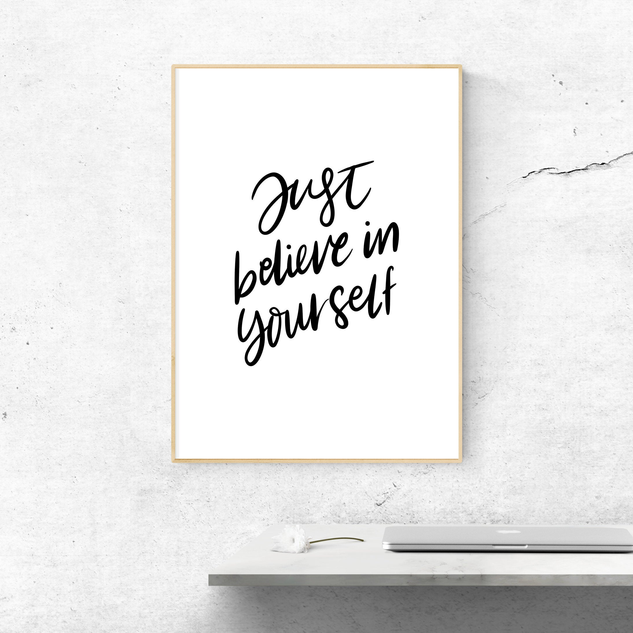 Believe In Yourself Printable, Digital Print, Home Wall Decor, Inspirational Art, Motivational Quote, Typography Poster, Dorm Wall Art Inside Rectangle Like Yourself Inspirational Typography Wall Plaque (View 6 of 30)