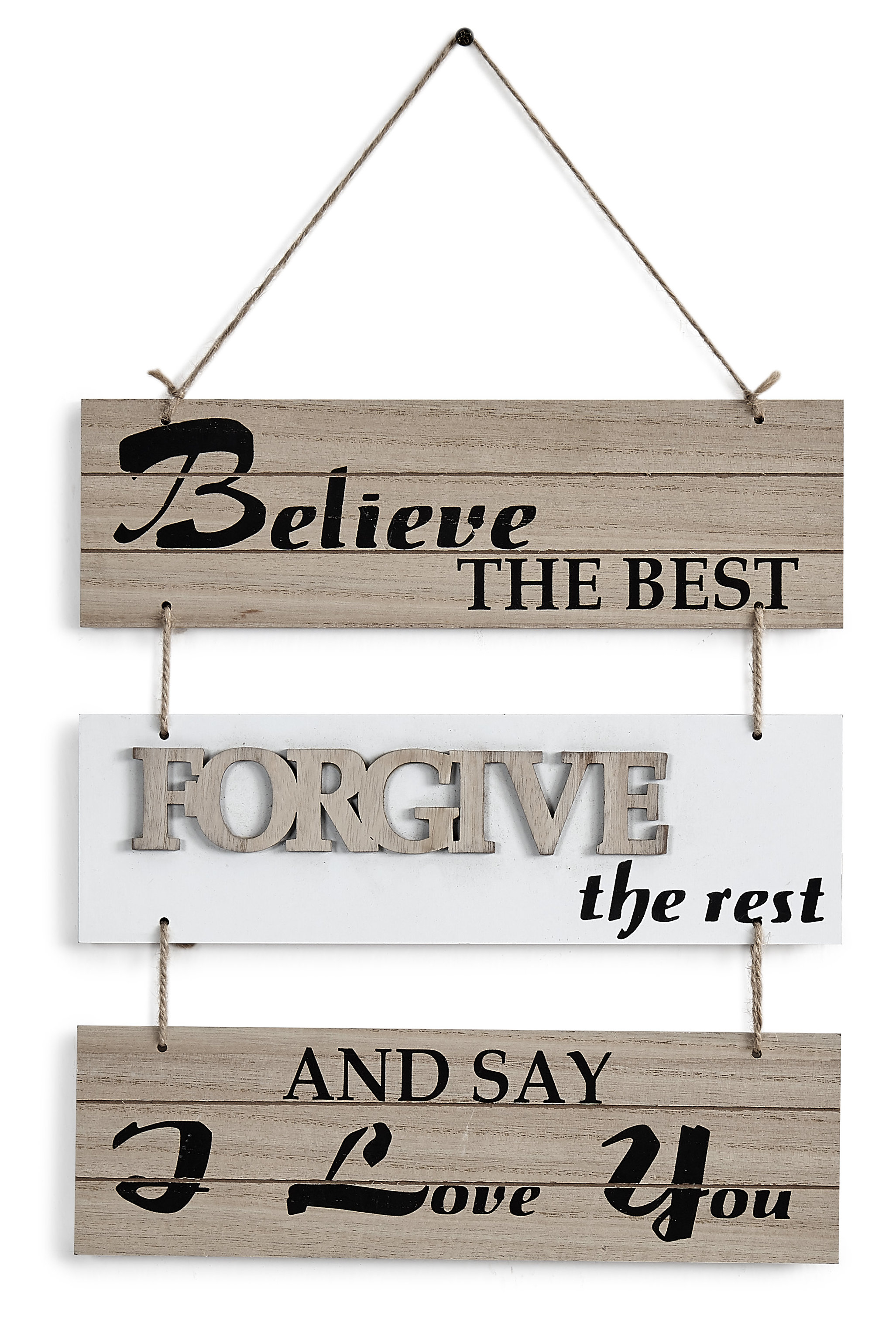 Believe The Best, Forgive The Rest And Say I Love You Sectioned Wall Decor Throughout Fawcett Thankful Heart Wall Decor (View 14 of 30)