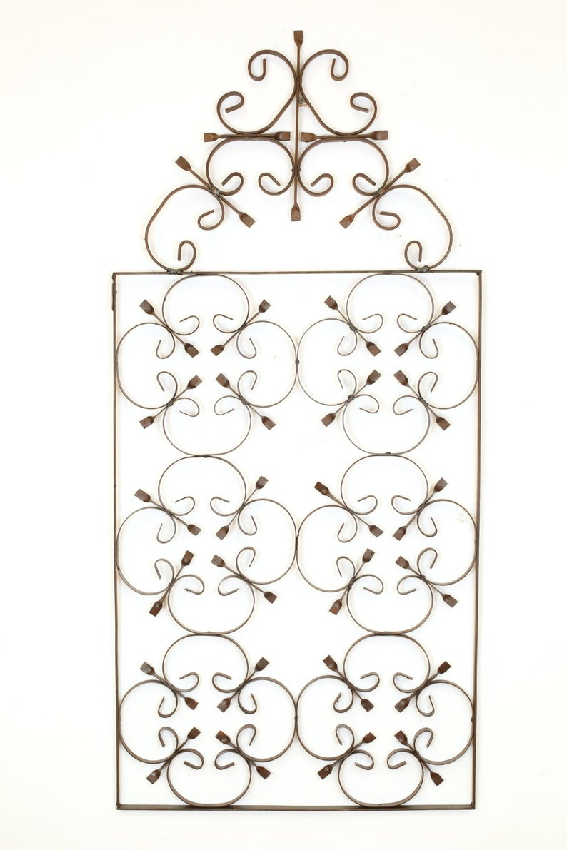 Bella Iron Scroll-Architectural Wall Garden-20X44 Inches-Wrought  Iron-Handmade pertaining to Belle Circular Scroll Wall Decor (Image 4 of 30)
