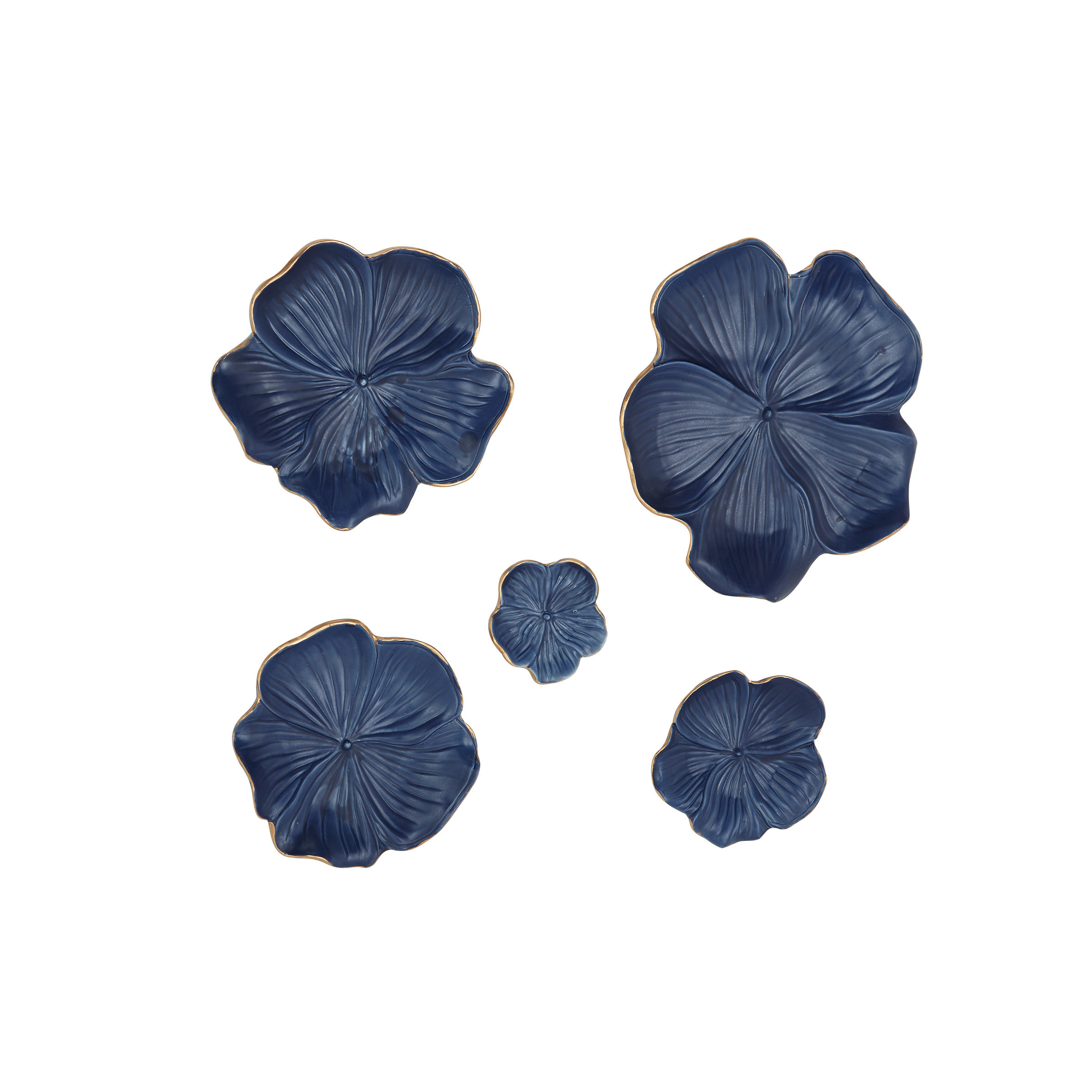 Bellefonte 5 Piece Ceramic Floral Wall Decor Set Within Mariposa 9 Piece Wall Decor (View 7 of 30)
