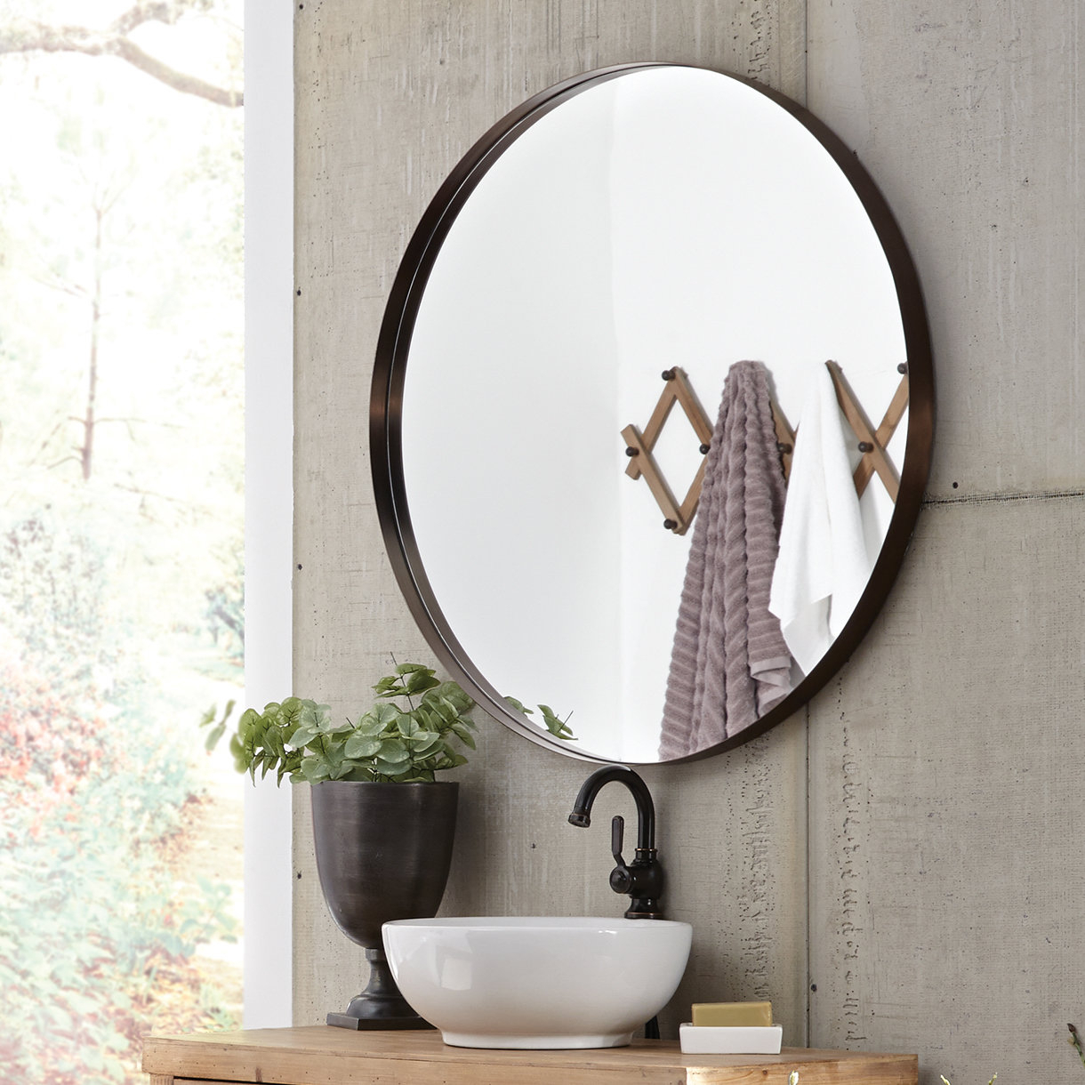 Benda Round Accent Mirror throughout Peetz Modern Rustic Accent Mirrors (Image 3 of 30)