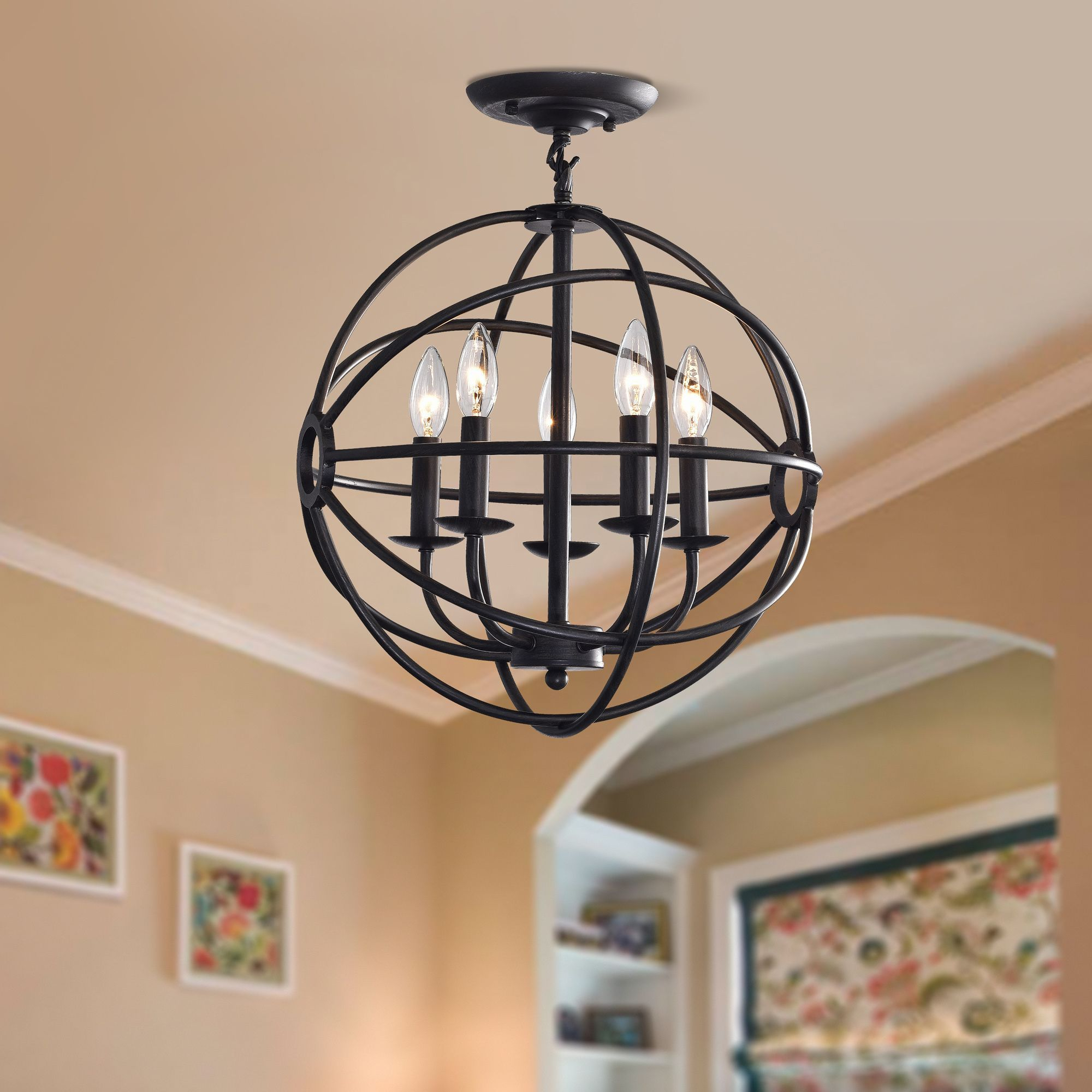 Benita Antique Black 5 Light Iron Orb Flush Mount Chandelier Pertaining To Verlene Foyer 5 Light Globe Chandeliers (View 16 of 30)