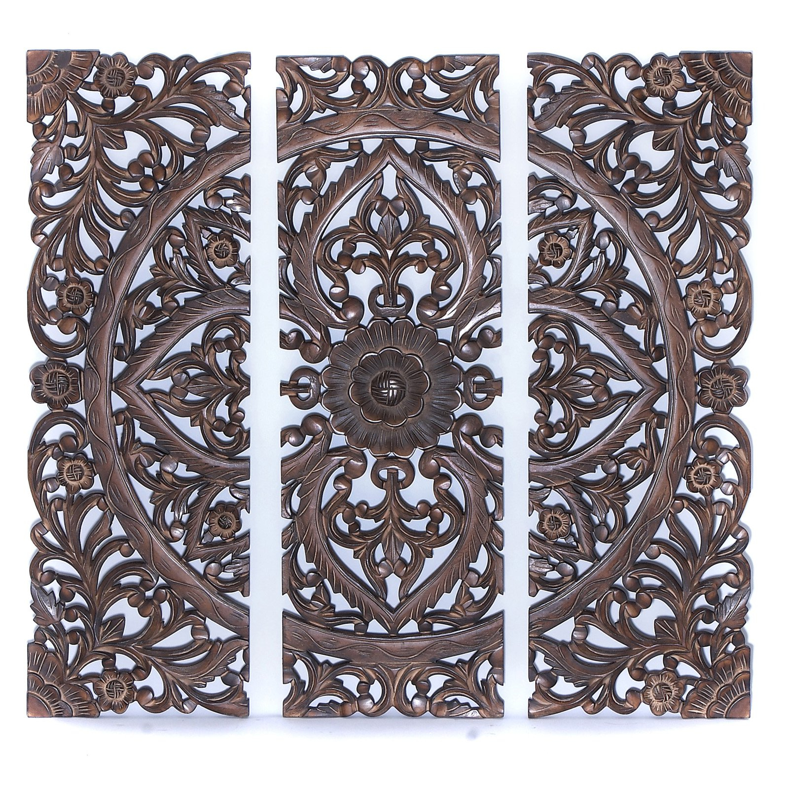 """Benzara 14404 36""""h Modern Wood Wall Panel With Dark Finish (set Of 3) Within Panel Wood Wall Decor Sets (set Of 2) (View 22 of 30)"""