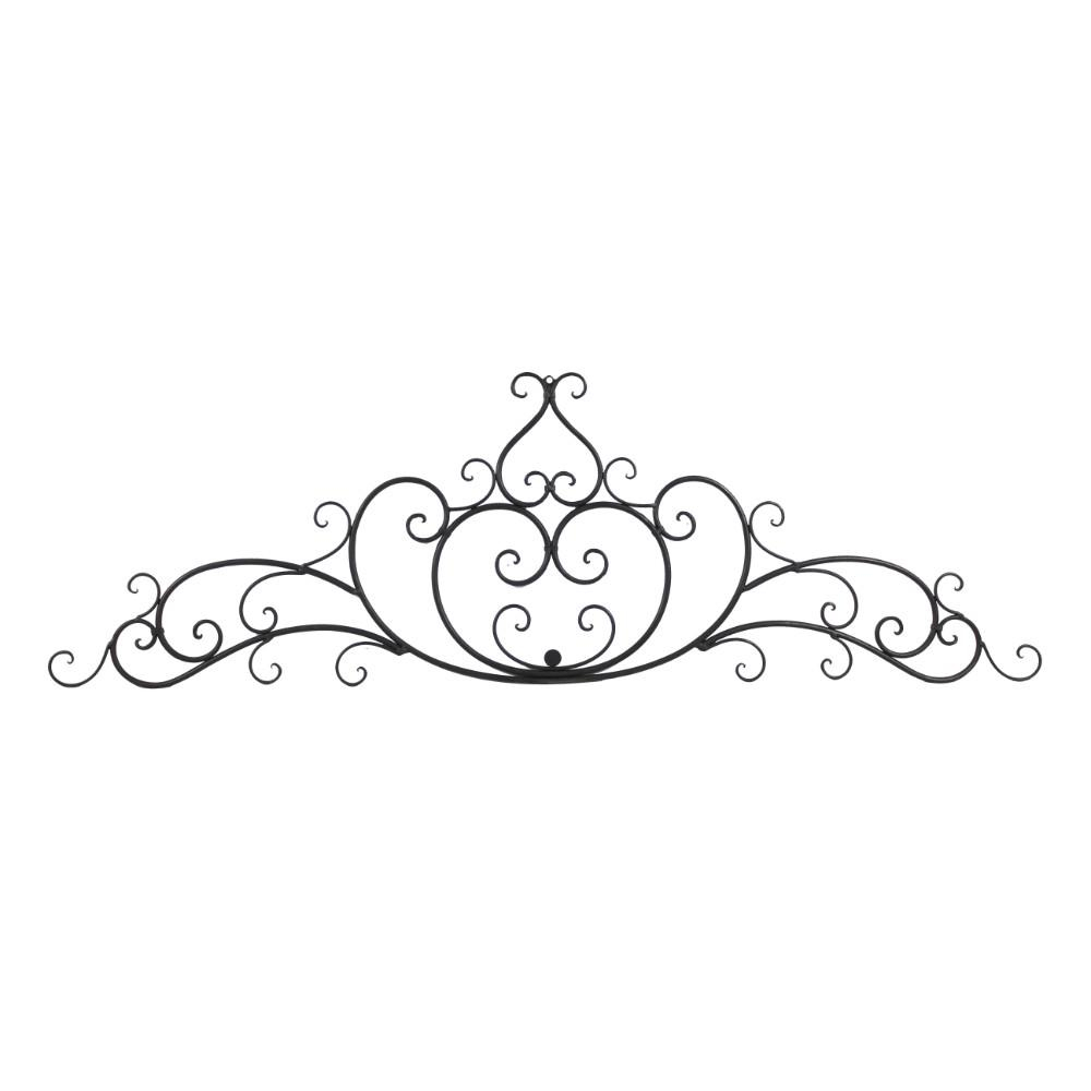 Benzara Decorative Scroll Black Wrought Iron Metal Wall Intended For Ornamental Wood And Metal Scroll Wall Decor (View 4 of 30)