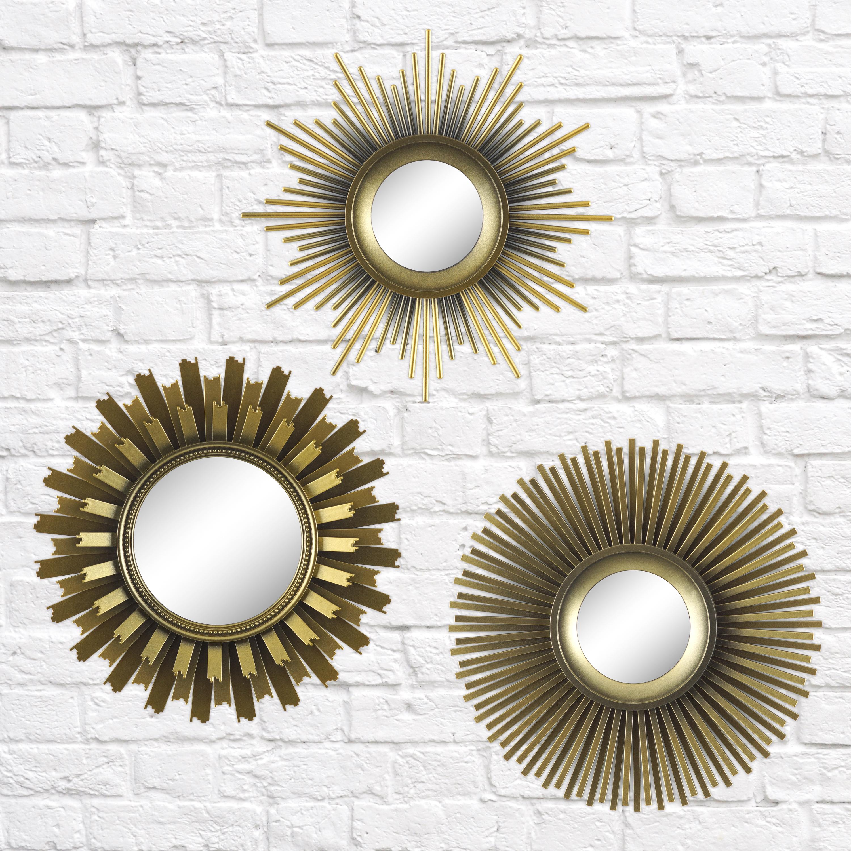 Better Homes & Gardens 3 Piece Round Sunburst Mirror Set In With 2 Piece Starburst Wall Decor Sets (View 16 of 30)