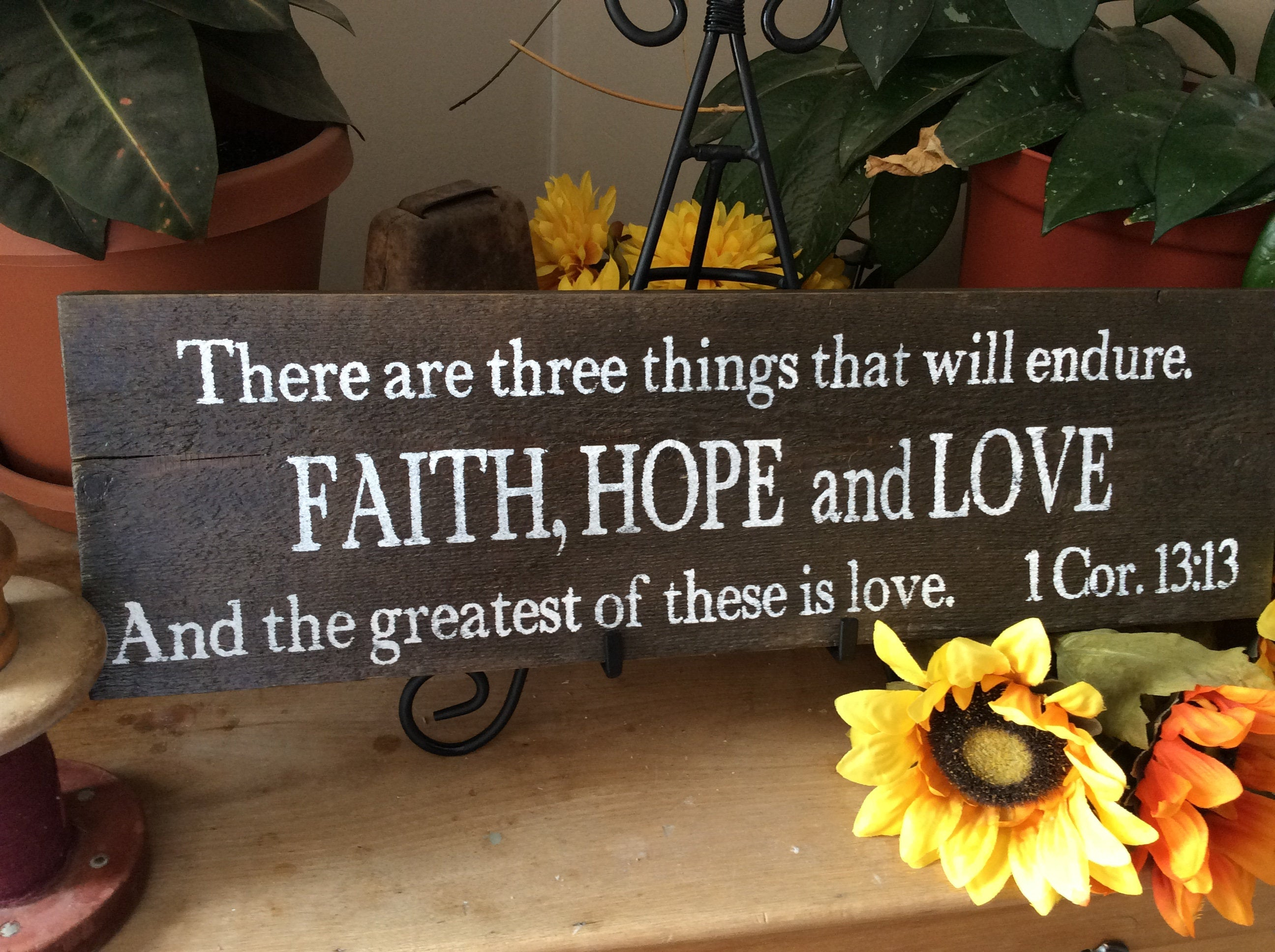 Bible Verse Sign, Scripture Verse Sign, Christian Home Decor Inside Faith, Hope, Love Raised Sign Wall Decor (View 7 of 30)