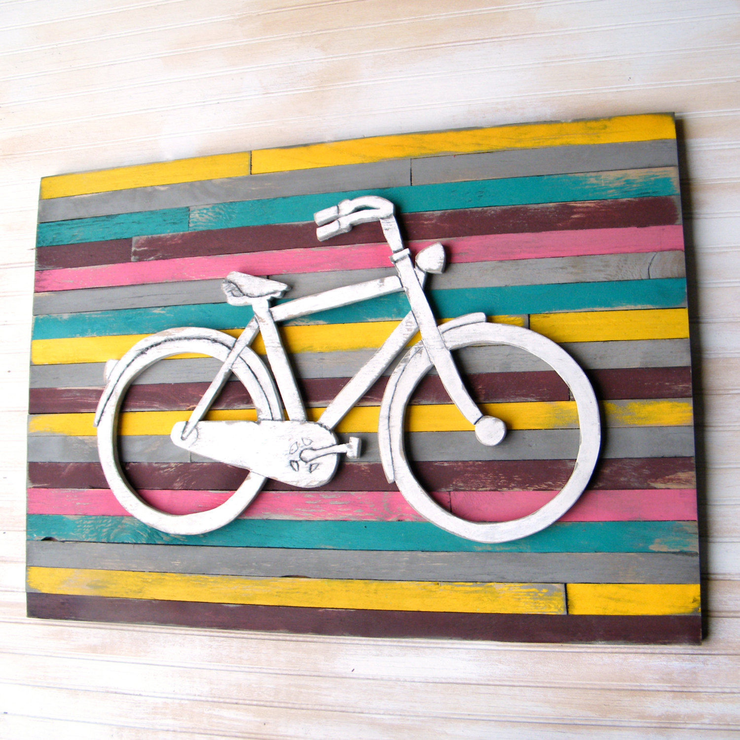Bicycle Art Pallet Art Large Bicycle Wall Decor Wooden Bike Sign Bike Wall Decor Customizable Large Wooden Wall Art Bicycle Wall Art Inside Bike Wall Decor (View 19 of 30)