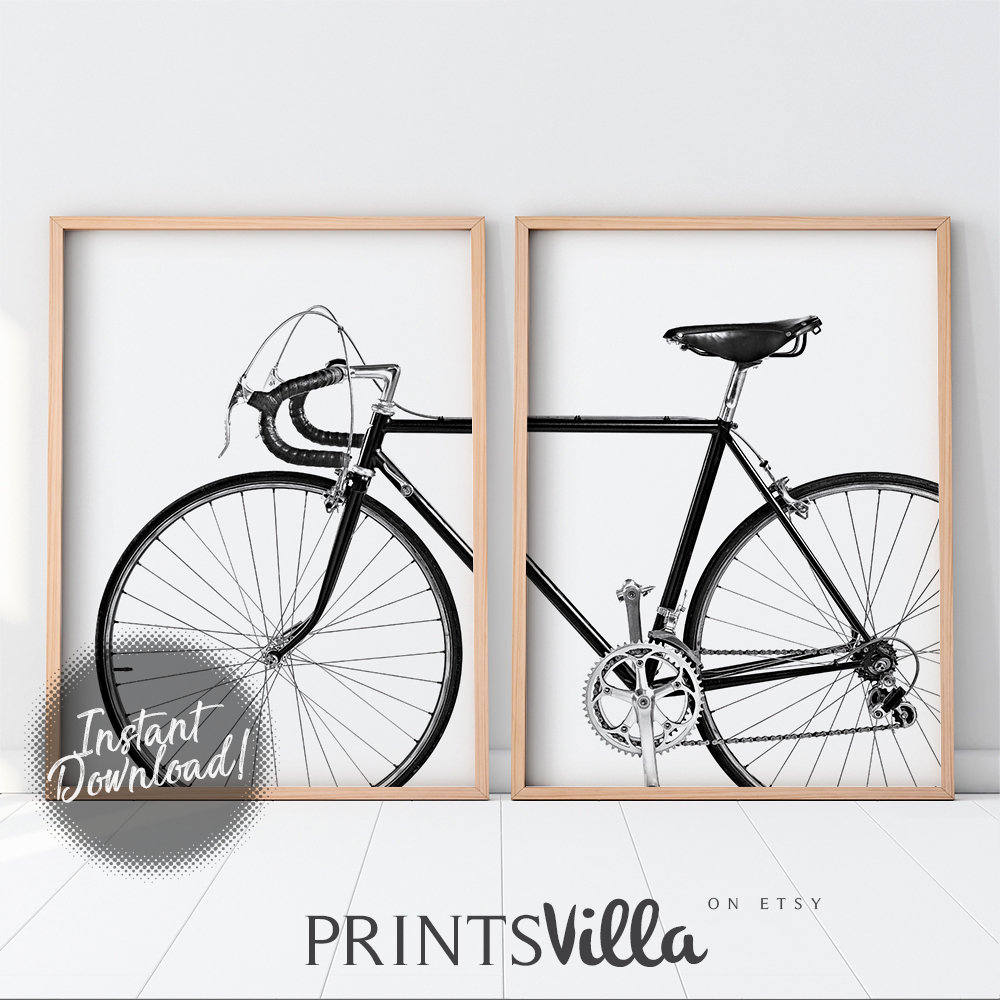 Bicycle Wall Art, Set Of 2 Prints, Bike Print, Black And White 2 Piece Poster, Minimalist Photography, Scandinavian Art Printable Wall Decor With Regard To Bike Wall Decor (View 15 of 30)