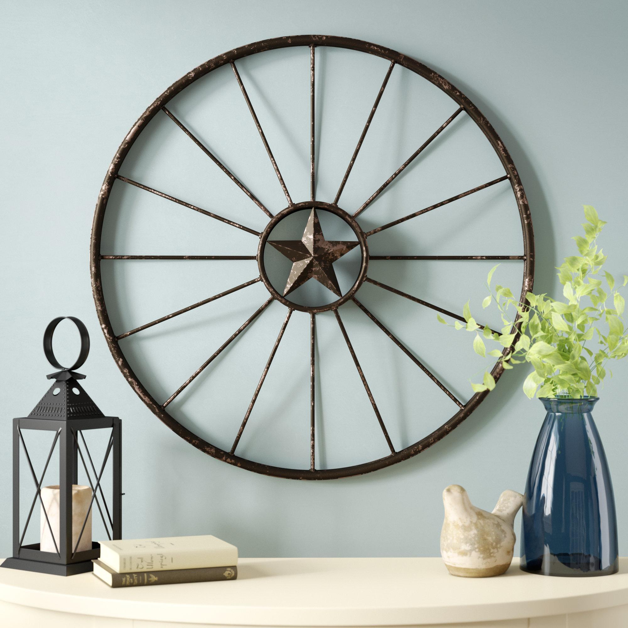Bike Wheel Wall Decor | Wayfair inside Millanocket Metal Wheel Photo Holder Wall Decor (Image 2 of 30)