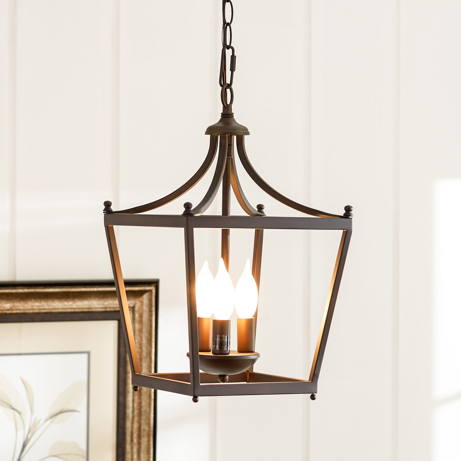 Birch Lane™ Heritage Gabriella 3-Light Lantern Geometric Pendant inside Armande 3-Light Lantern Geometric Pendants (Image 9 of 30)