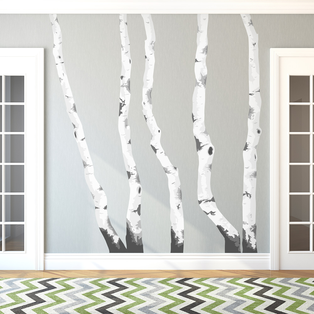 Birch Trees Printed Wall Decal Regarding Tree Wall Decor (View 20 of 30)