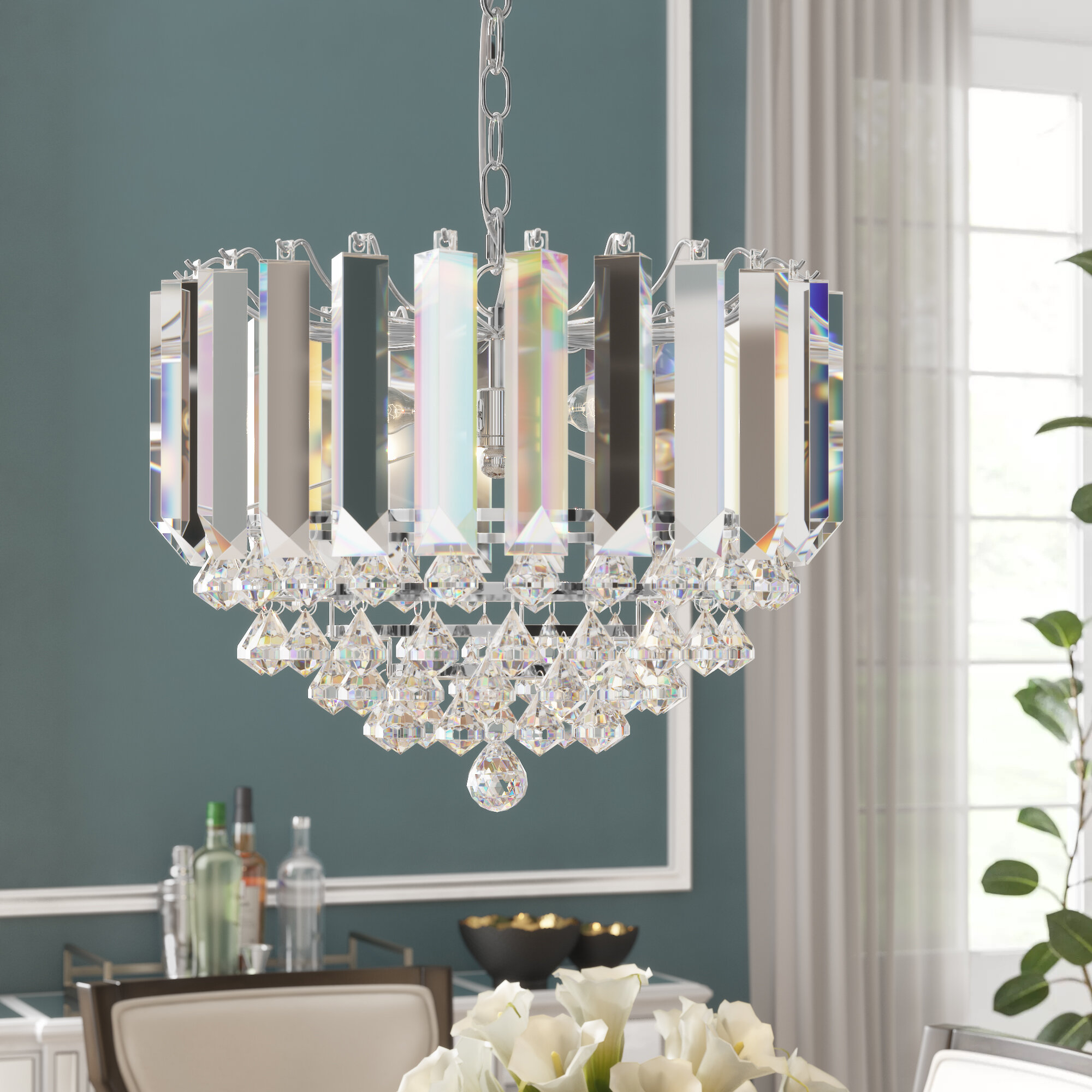 Birchley 2 Light Crystal Chandelier Throughout Benedetto 5 Light Crystal Chandeliers (View 18 of 30)