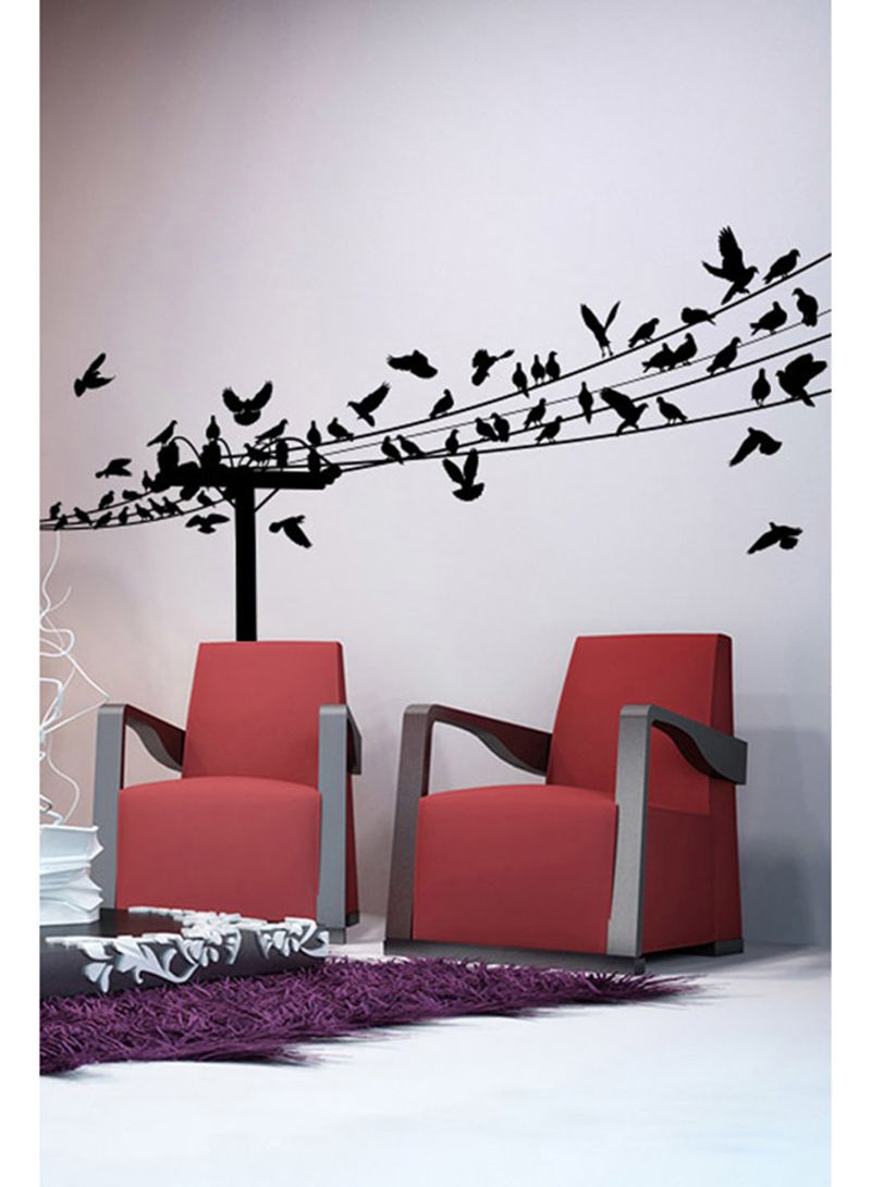 Birds On A Wire Wall Decal Black 130x60 Centimeter Intended For Birds On A Wire Wall Decor (View 14 of 30)