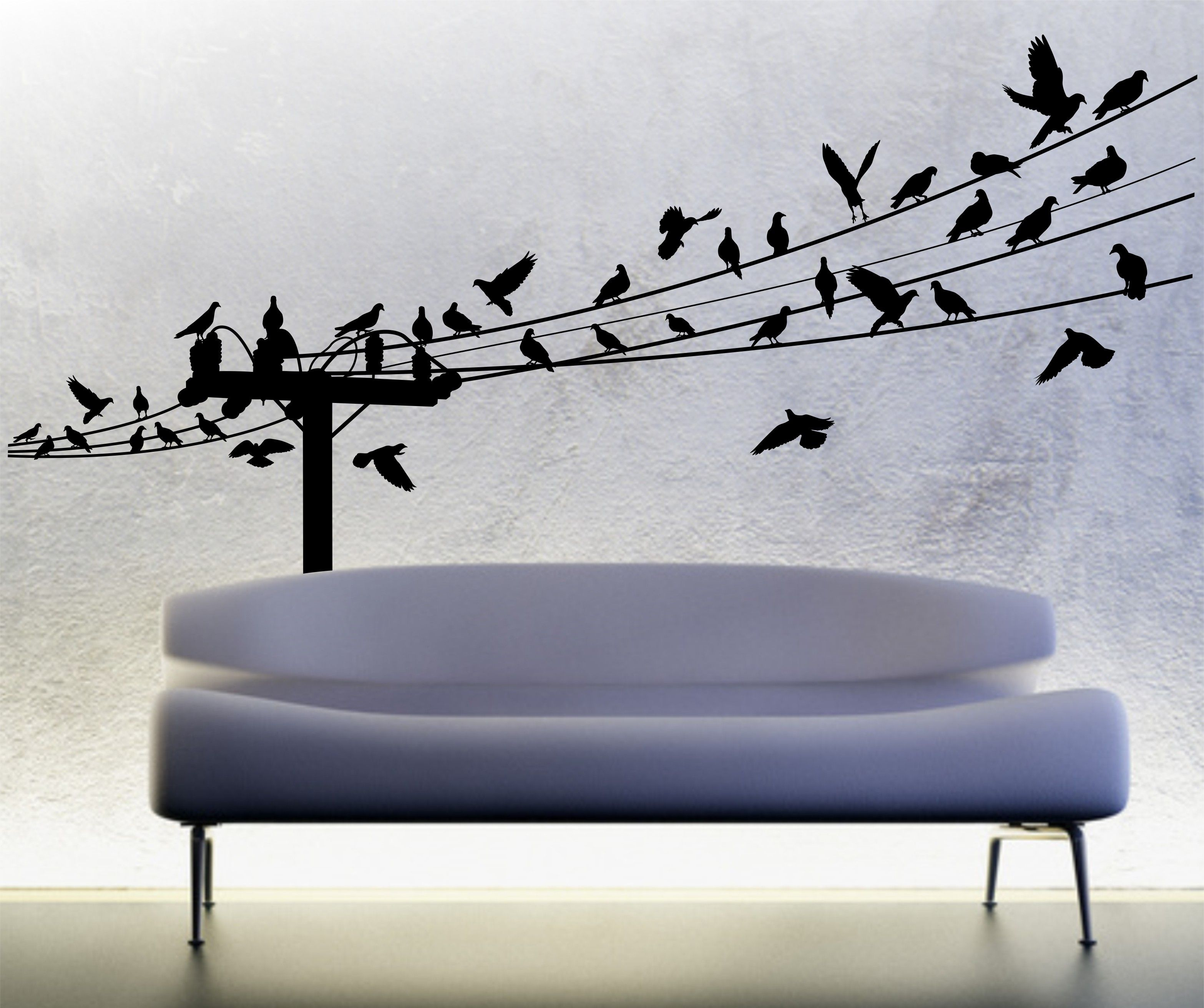 Birds On A Wire Wall Decal, Powerline Wall Decal, Power Line Within Birds On A Wire Wall Decor (View 22 of 30)