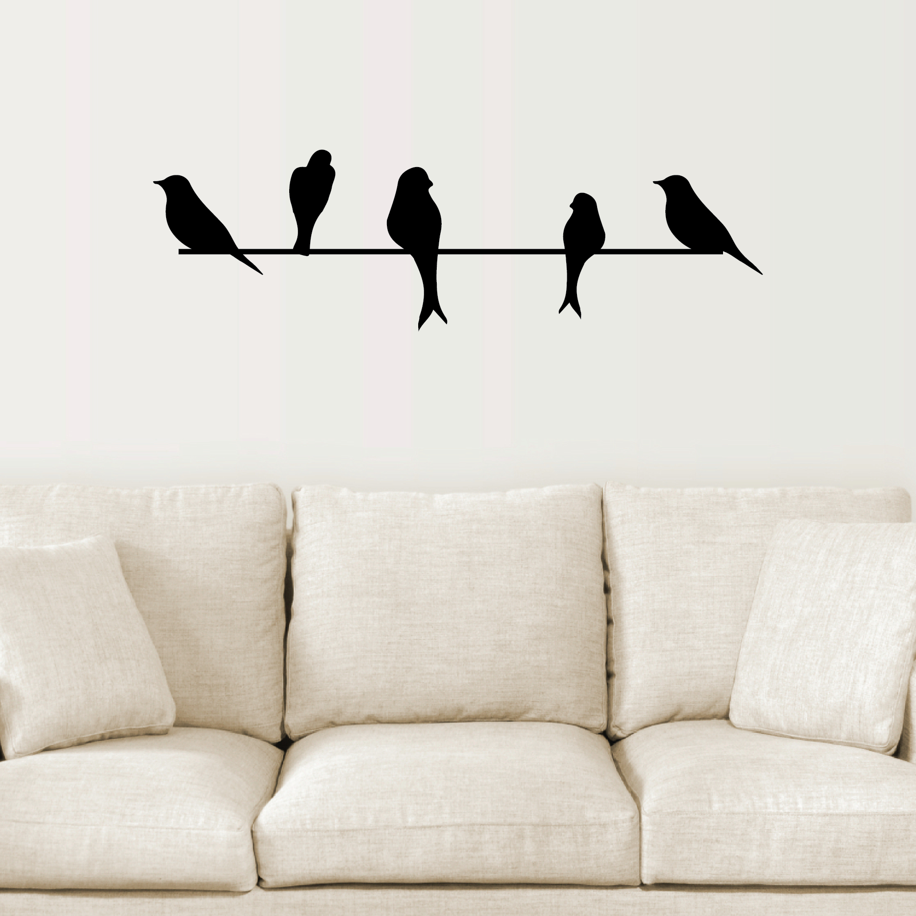 Birds On A Wire Wall Quotes™ Wall Art Decal | Wallquotes With Regard To Birds On A Wire Wall Decor (View 2 of 30)
