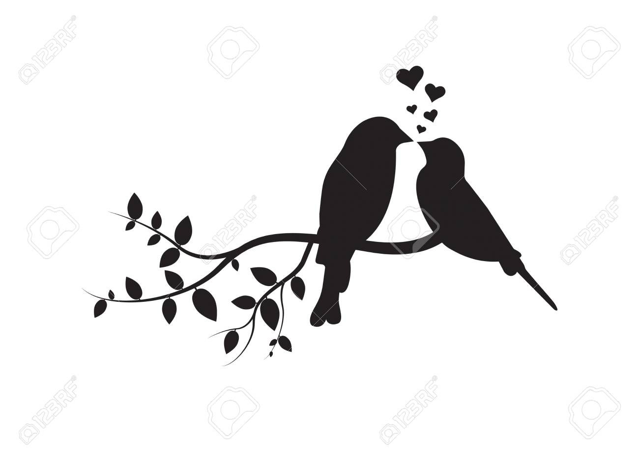 Birds On Branch, Wall Decals, Couple Of Birds In Love, Art Decoration,. (View 8 of 30)