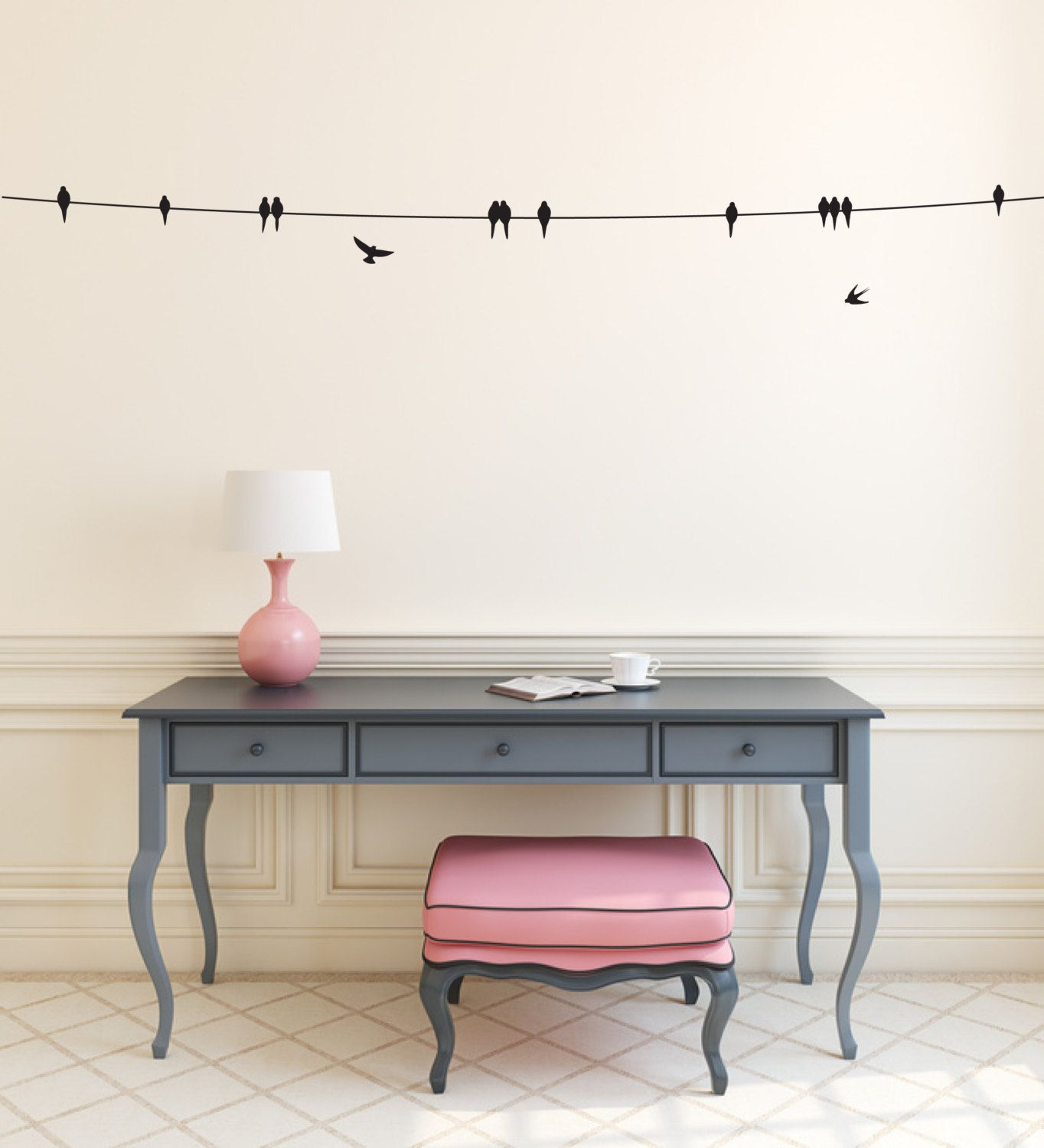 Birds On Wire Wall Sticker - Flying Sitting & Perched Birds within Birds On A Wire Wall Decor (Image 16 of 30)