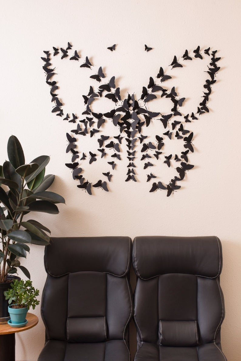 Black 3d Butterfly Wall Art Regarding 3 Piece Capri Butterfly Wall Decor Sets (View 8 of 30)