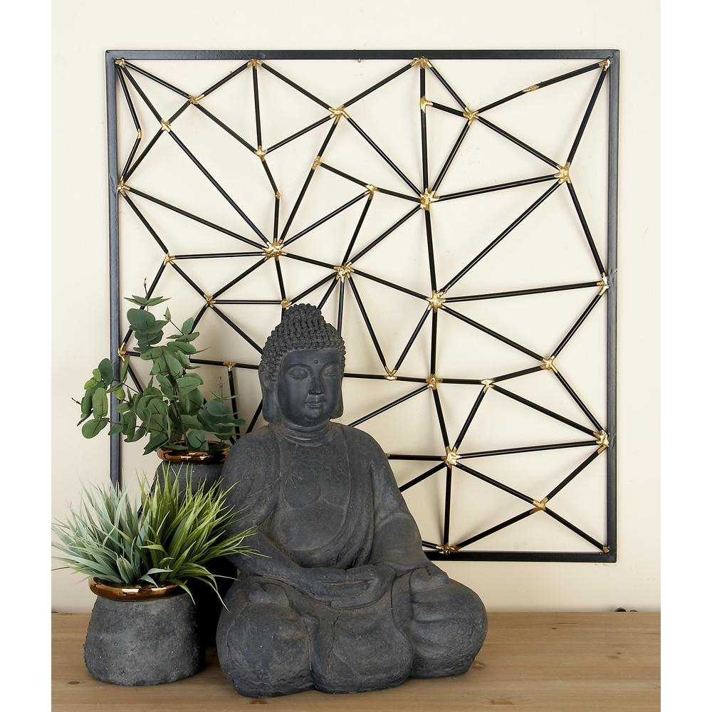 Black And Gold Geometric-Inspired Iron Wall Decor pertaining to Metal Wall Decor By Cosmoliving (Image 2 of 30)