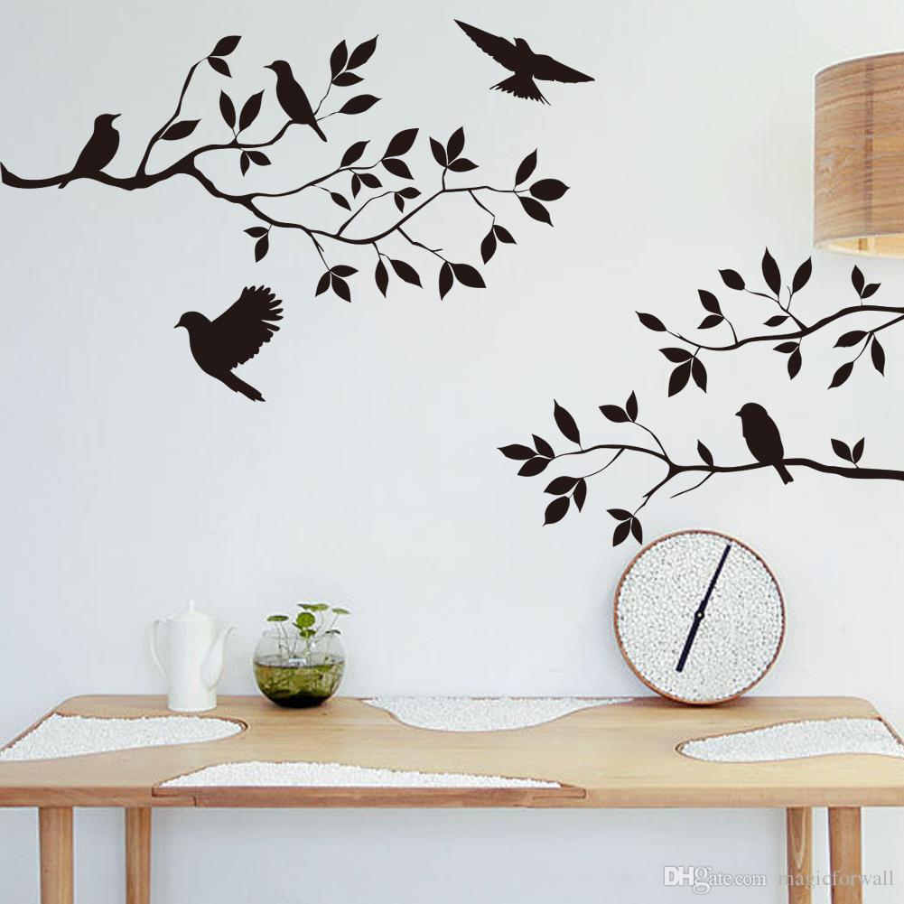 Black Bird And Tree Branch Leaves Wall Sticker Decal Removable Birds On The Branch Tree Art Home Decor Murals Decoration Within Birds On A Branch Wall Decor (View 5 of 30)