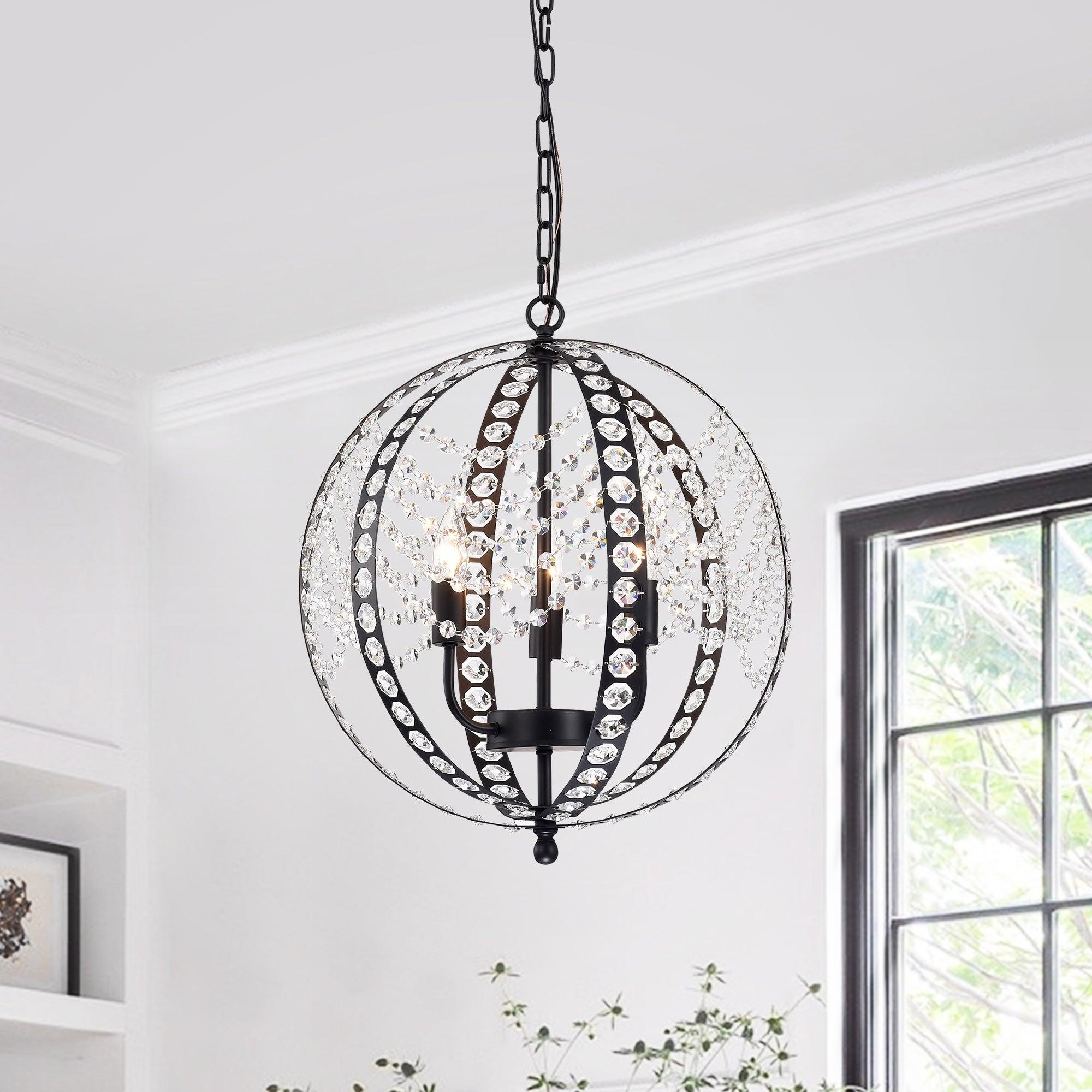 Black, Crystal Ceiling Lights | Shop Our Best Lighting in Johanne 6-Light Sputnik Chandeliers (Image 2 of 30)