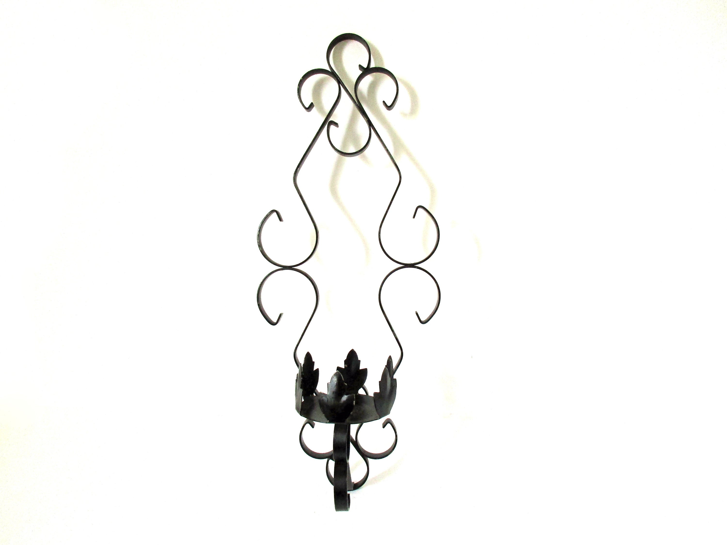 Black Curly Metal Candle Sconce, Spanish Revival Wall Decor, Curly Wrought Iron Decor, Castle Decor, Spanish Mediterranean Bungalow Hacienda Intended For Spanish Ornamental Wall Decor (View 1 of 30)