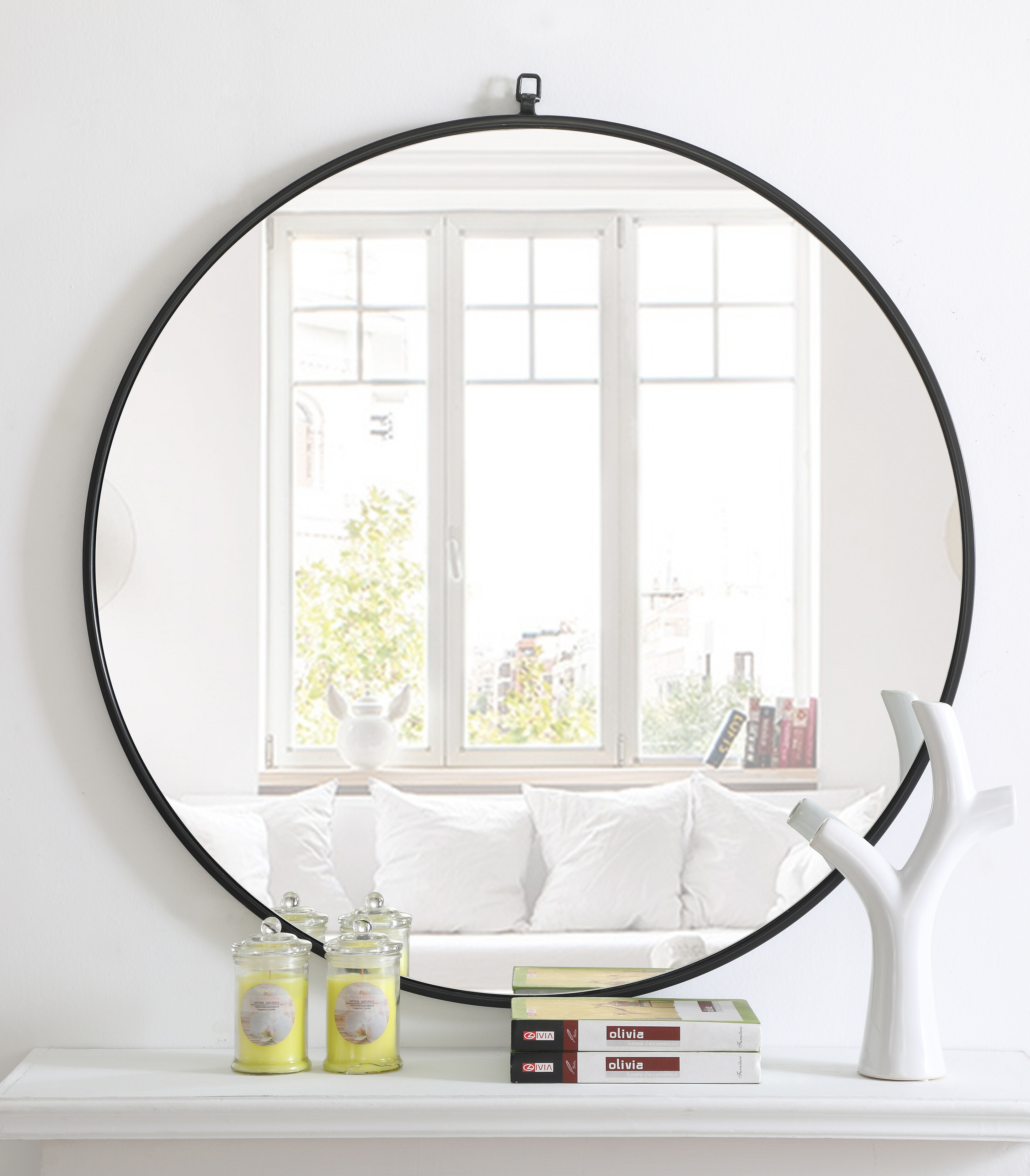 Black Finish Iron Mirror | Wayfair with regard to Yedinak Modern Distressed Accent Mirrors (Image 2 of 30)