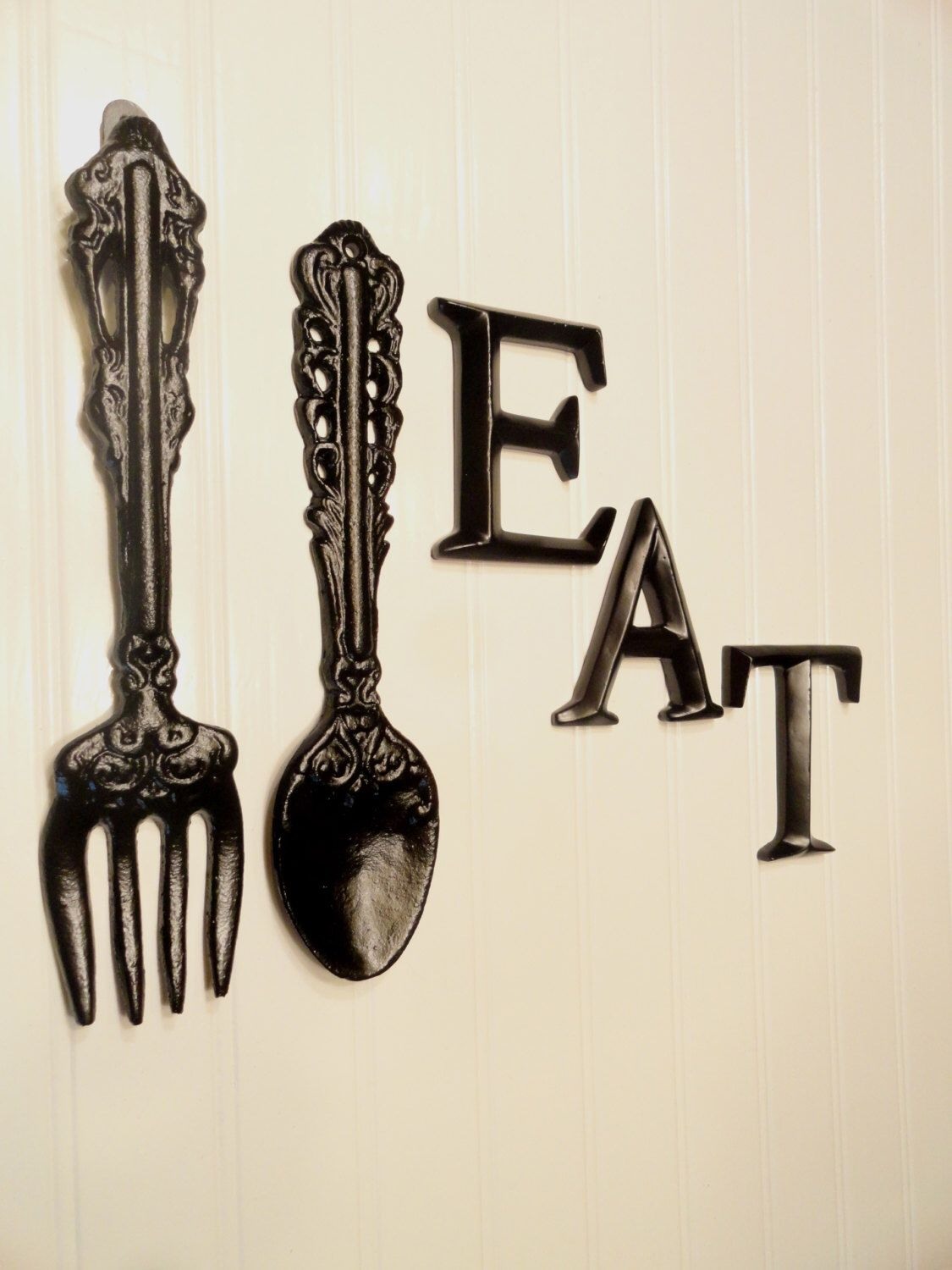 Black Kitchen Wall Decor, Large Fork Spoon Wall Decor, Eat In Black Metal Key Wall Decor (View 9 of 30)
