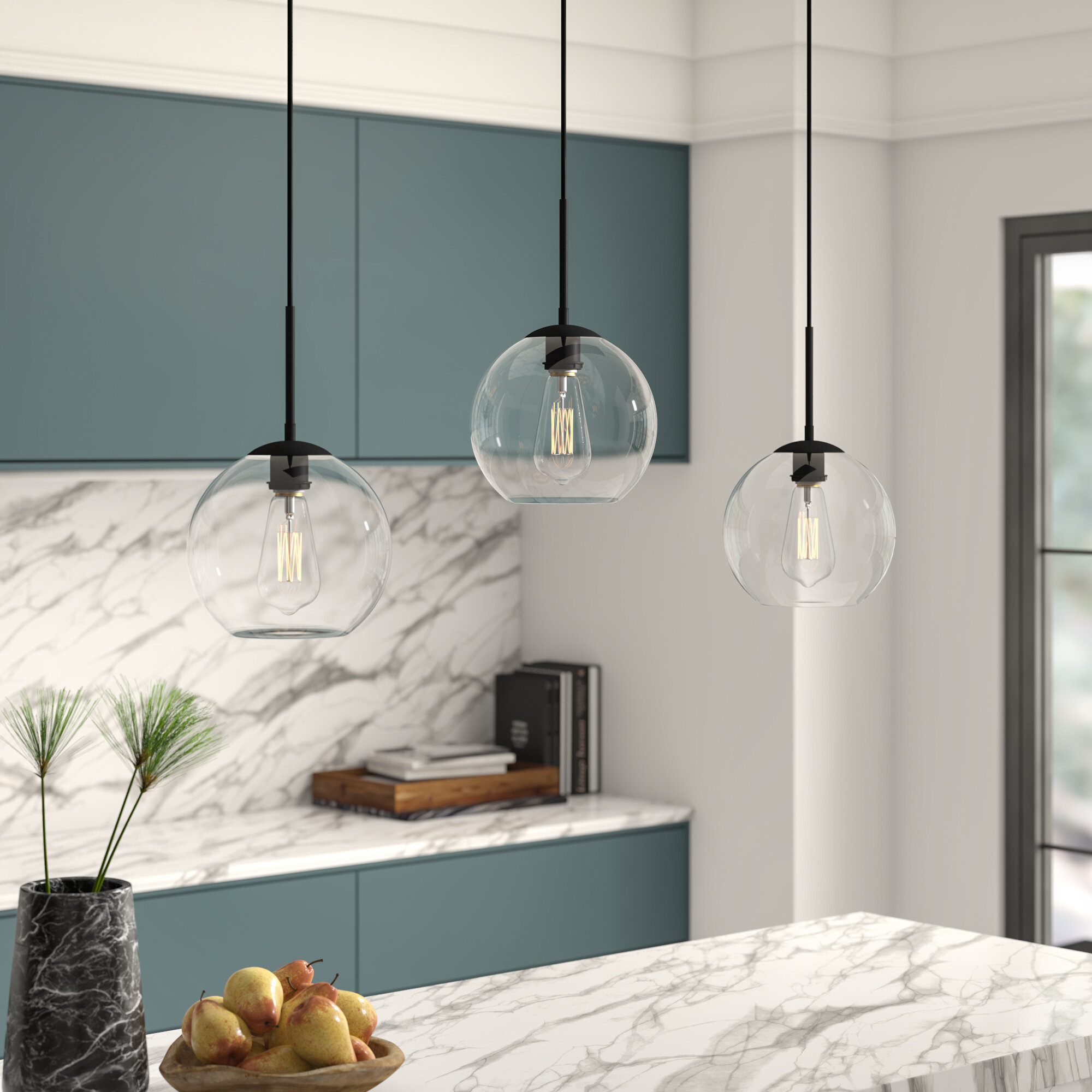 "Black Mini (Less Than 10"" Wide) Pendant Lighting You'll Love for Schutt 4-Light Kitchen Island Pendants (Image 4 of 30)"