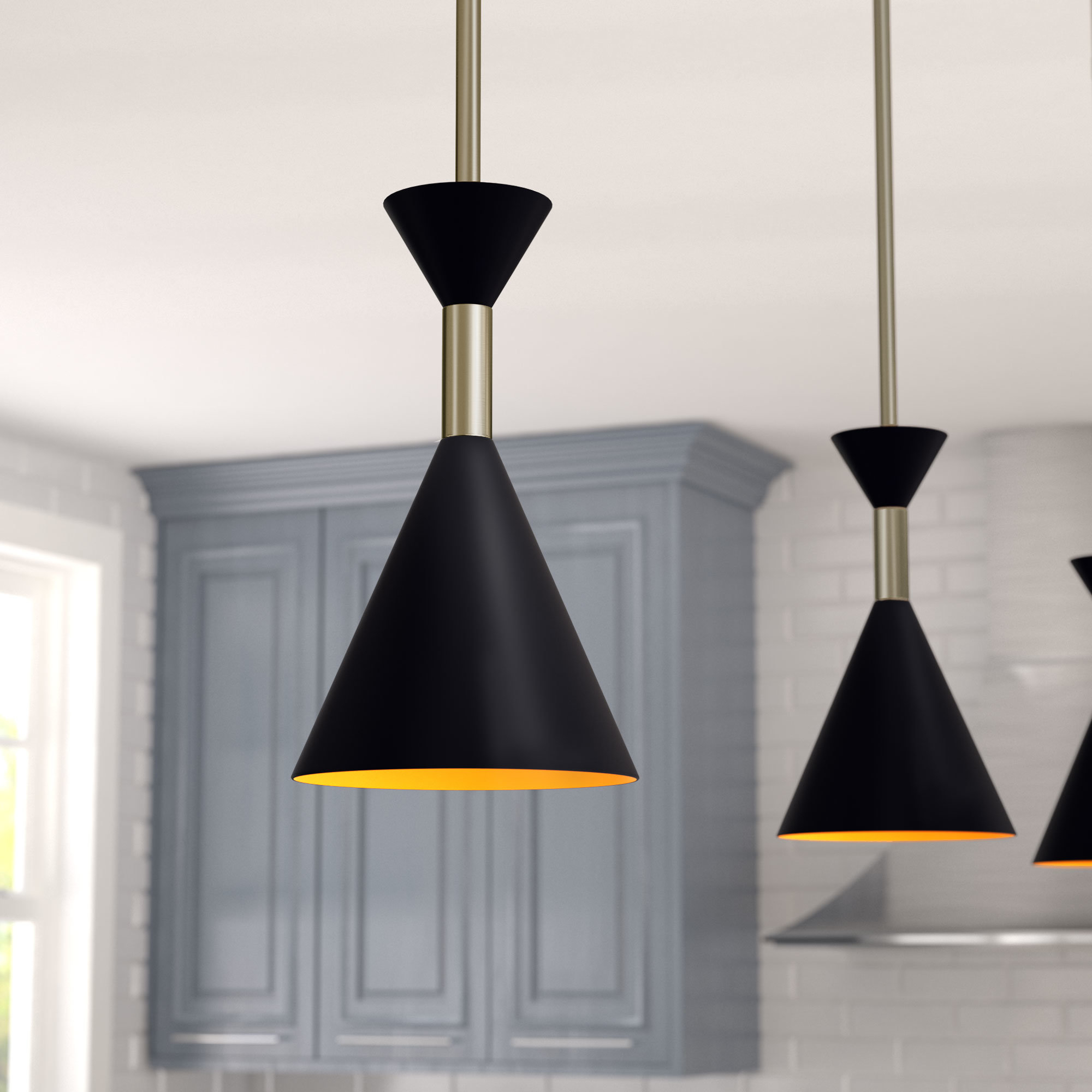"Black Mini (Less Than 10"" Wide) Pendant Lighting You'll Love With Ammerman 1 Light Cone Pendants (Image 8 of 30)"
