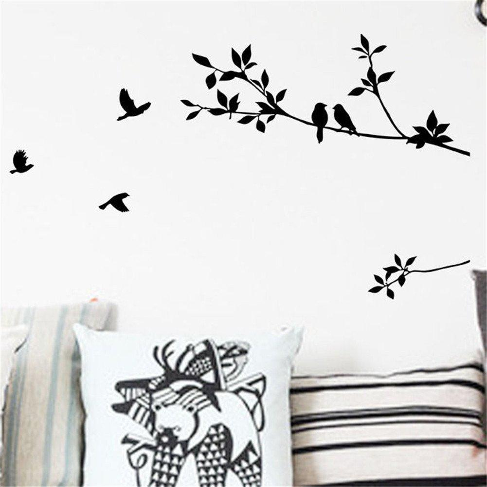 Black Wall Art Mural Poster Sticker Birds And Tree Branch Leaves Wall Sticker Decal Home Diy Wall Decoration Sticker For Bedroom Living Room Inside Birds On A Branch Wall Decor (View 18 of 30)