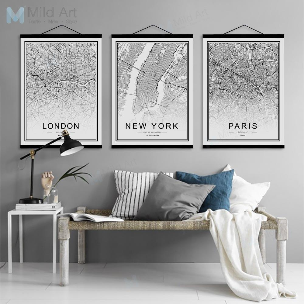 Black White Moscow Paris Berlin World City Map Wooden Framed With Regard To Scroll Framed Wall Decor (View 6 of 30)