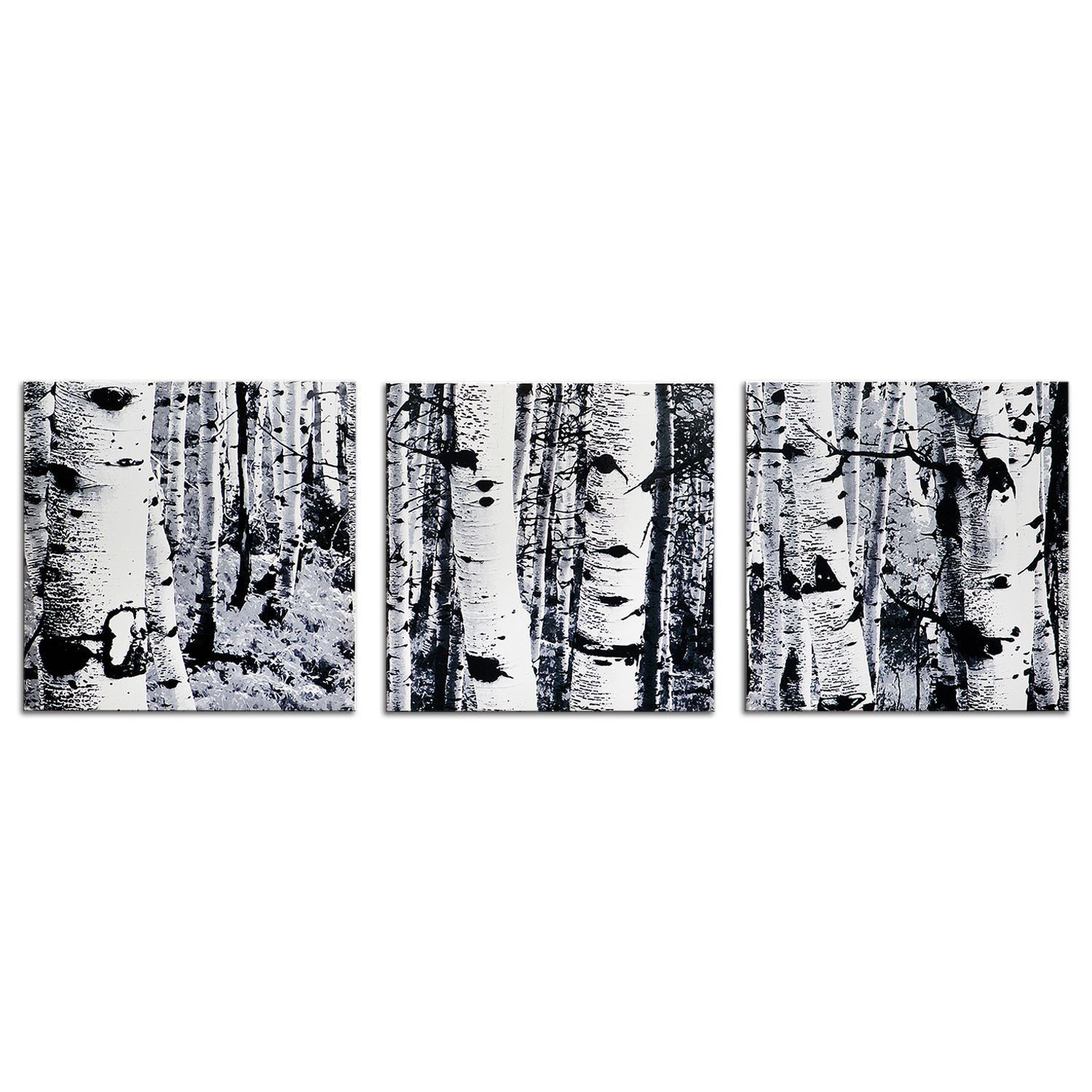 Black & White Tree Art 'aspen Triptych' Modern Wall Decor In Contemporary Forest Metal Wall Decor (View 7 of 30)