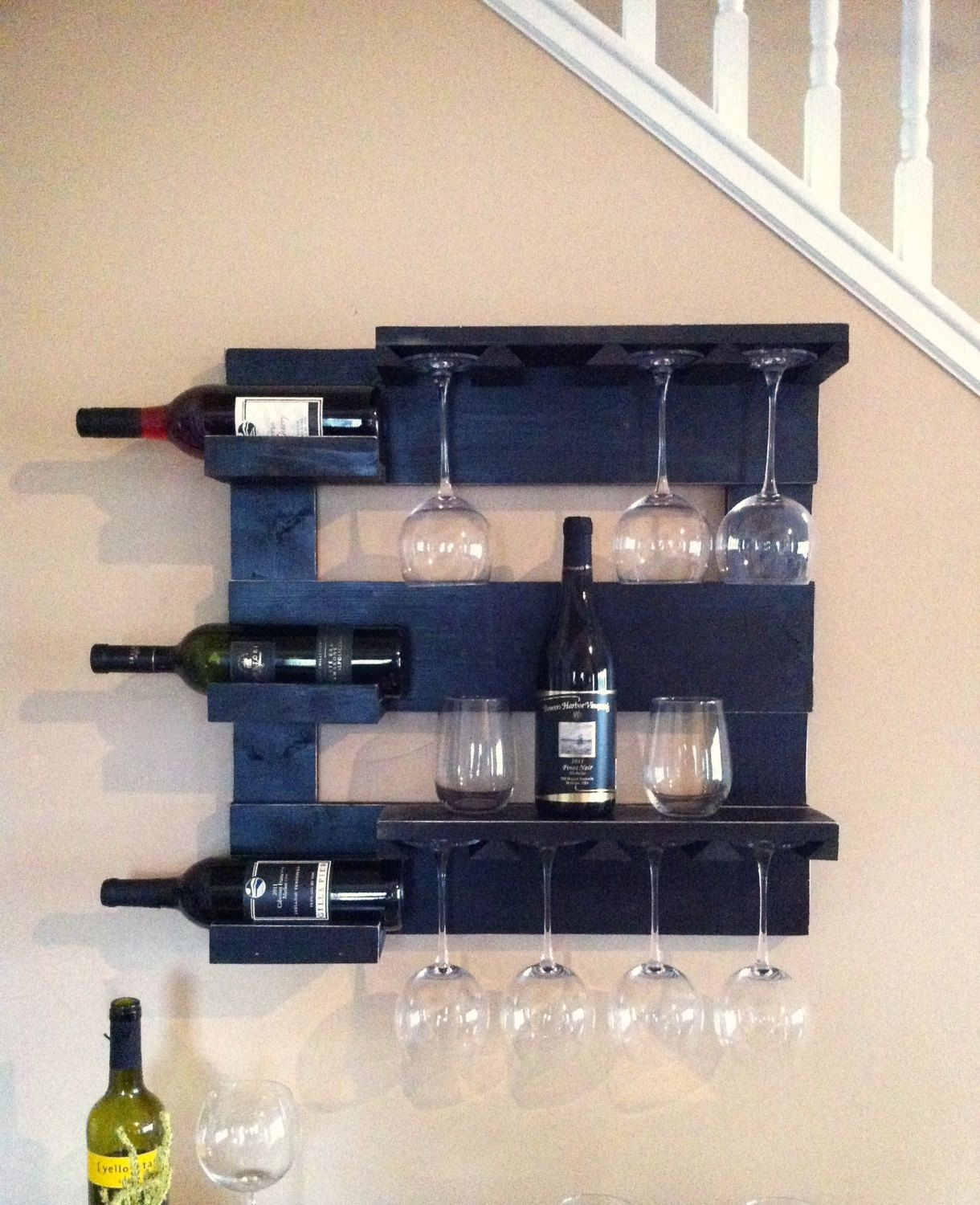Black Wine Rack, Wine Storage, Wine Glass Holder, Bar Shelf In Three Glass Holder Wall Decor (View 9 of 30)