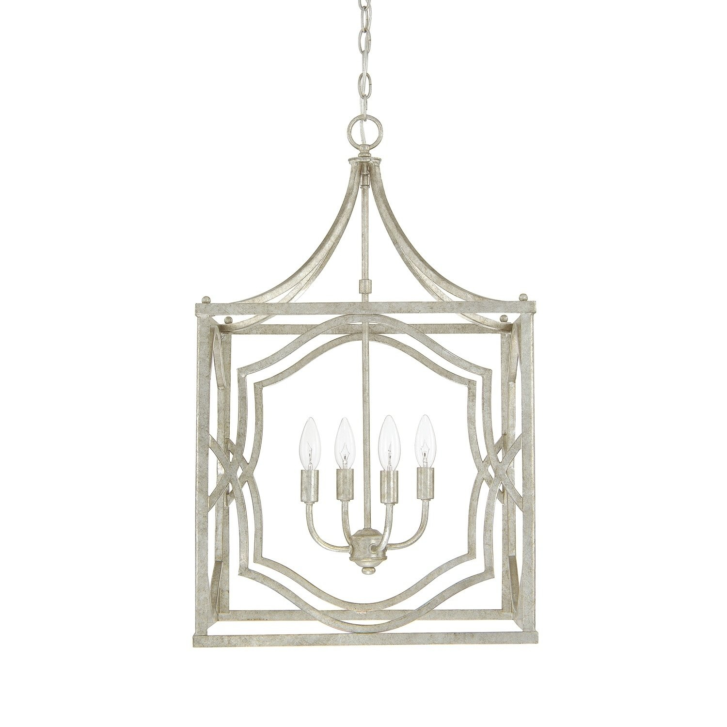 Blakely 4-Light Antique Silver Foyer Fixture - Antique in Oriana 4-Light Single Geometric Chandeliers (Image 6 of 30)