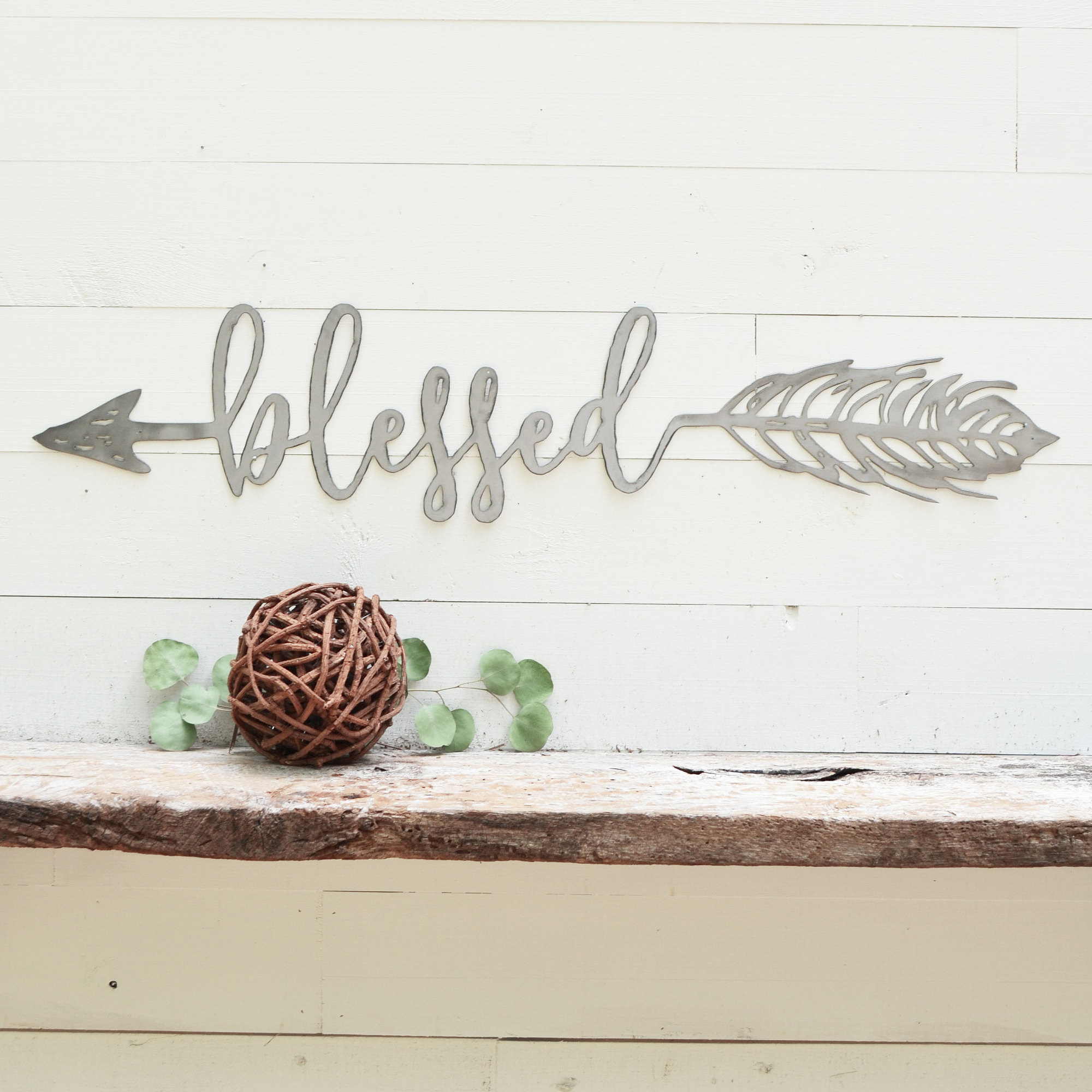 Blessed Arrow Metal Sign – Metal Wall Art – Blessed Sign – Metal Wall Decor – Metal Signs – Simply Inspired – Farmhouse Rustic Home Decor Pertaining To Blessed Steel Wall Decor (View 16 of 30)