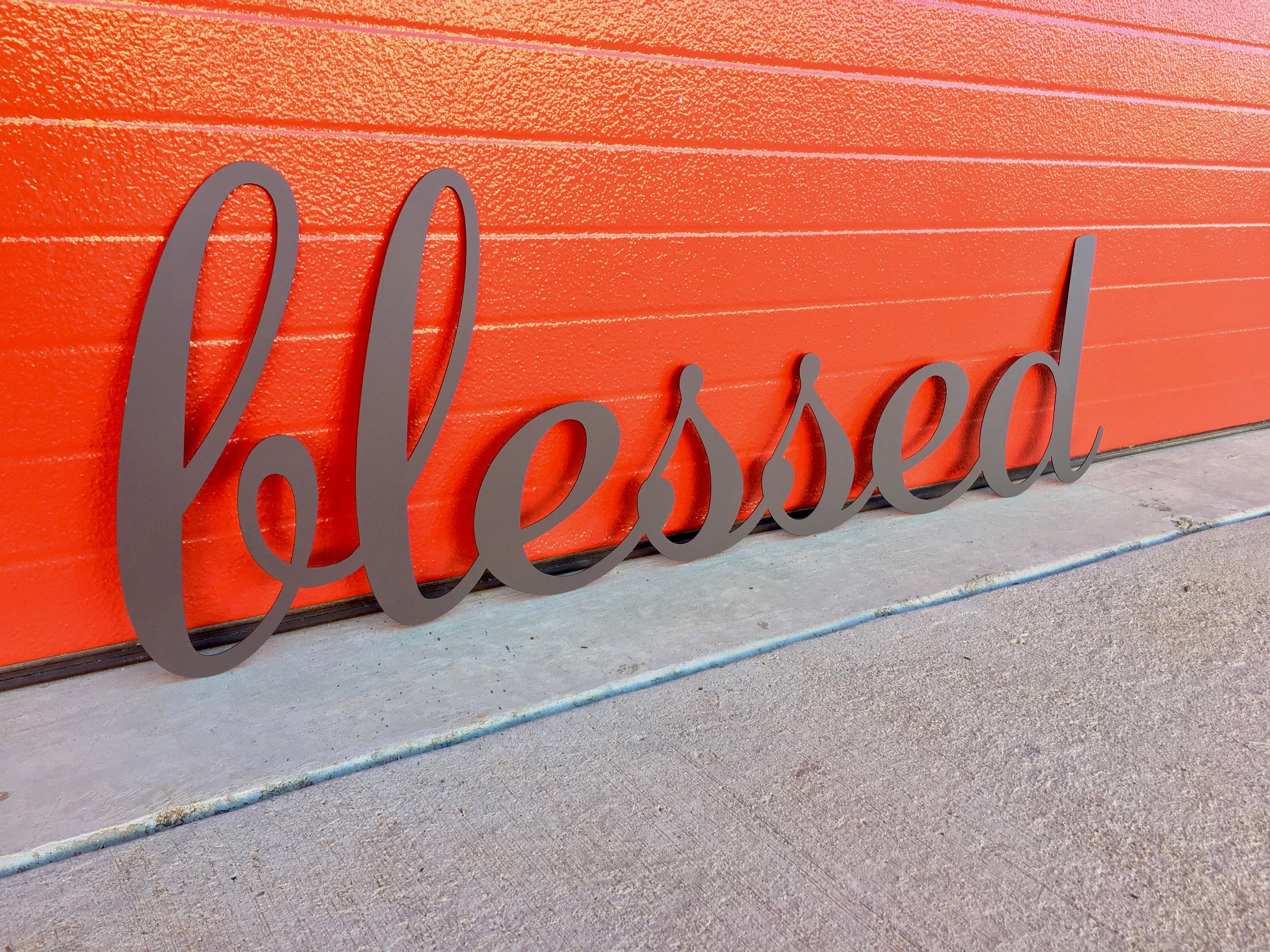 Blessed   Metal Lettering   Steel Home Decor   Blessed   Wall Art   Cursive   Script   Scroll   Christmas Gift   Family   Kitchen   #4401 Regarding Blessed Steel Wall Decor (View 10 of 30)