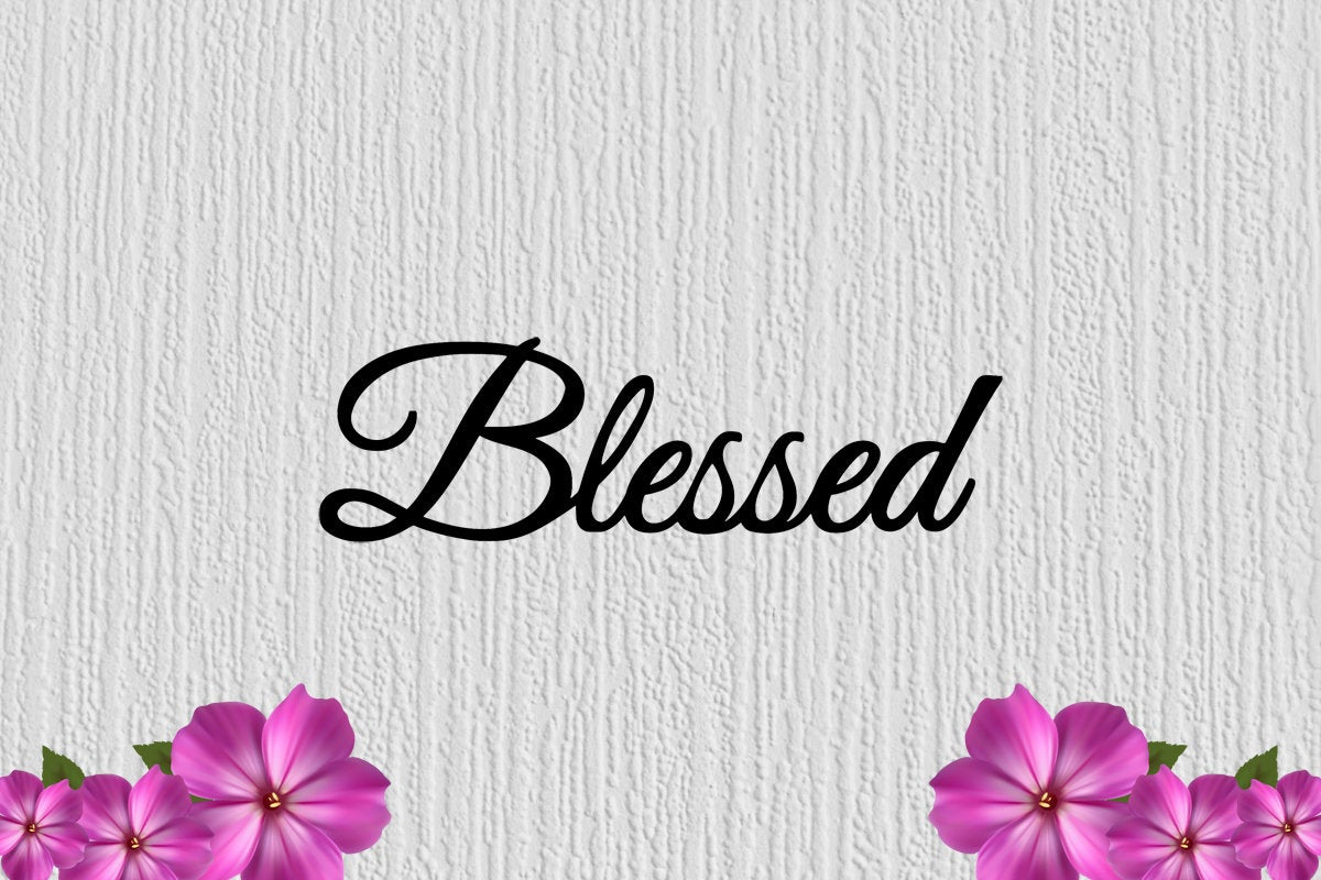 "Blessed Metal Sign 25"" X 10"" Large Wall Decor Sign Wall Art Regarding Blessed Steel Wall Decor (View 23 of 30)"