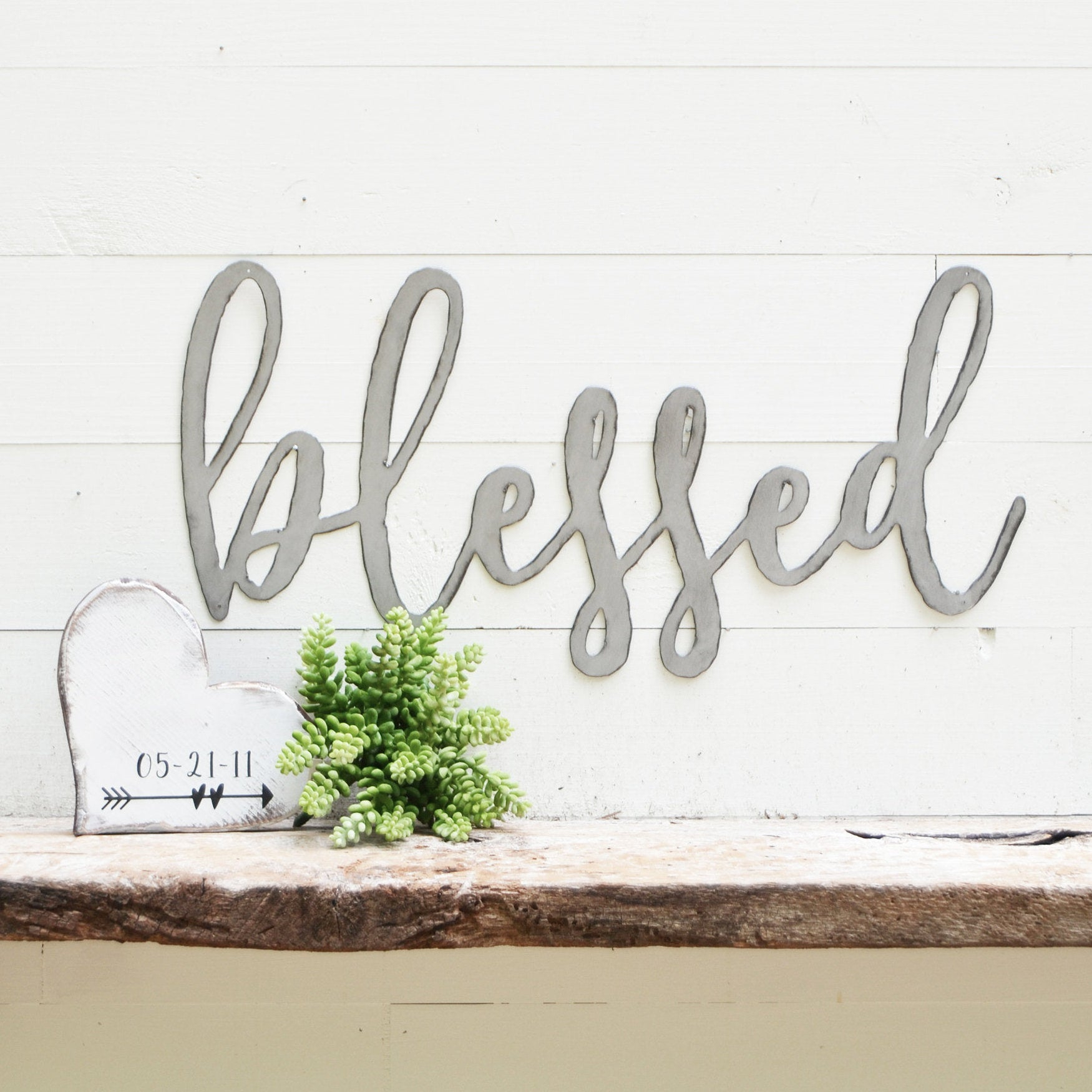 Blessed Metal Sign – Metal Wall Art – Blessed Sign – Metal Words – Metal Wall Decor – Metal Signs – Housewarming Gift – Simply Inspired Pertaining To Blessed Steel Wall Decor (View 3 of 30)