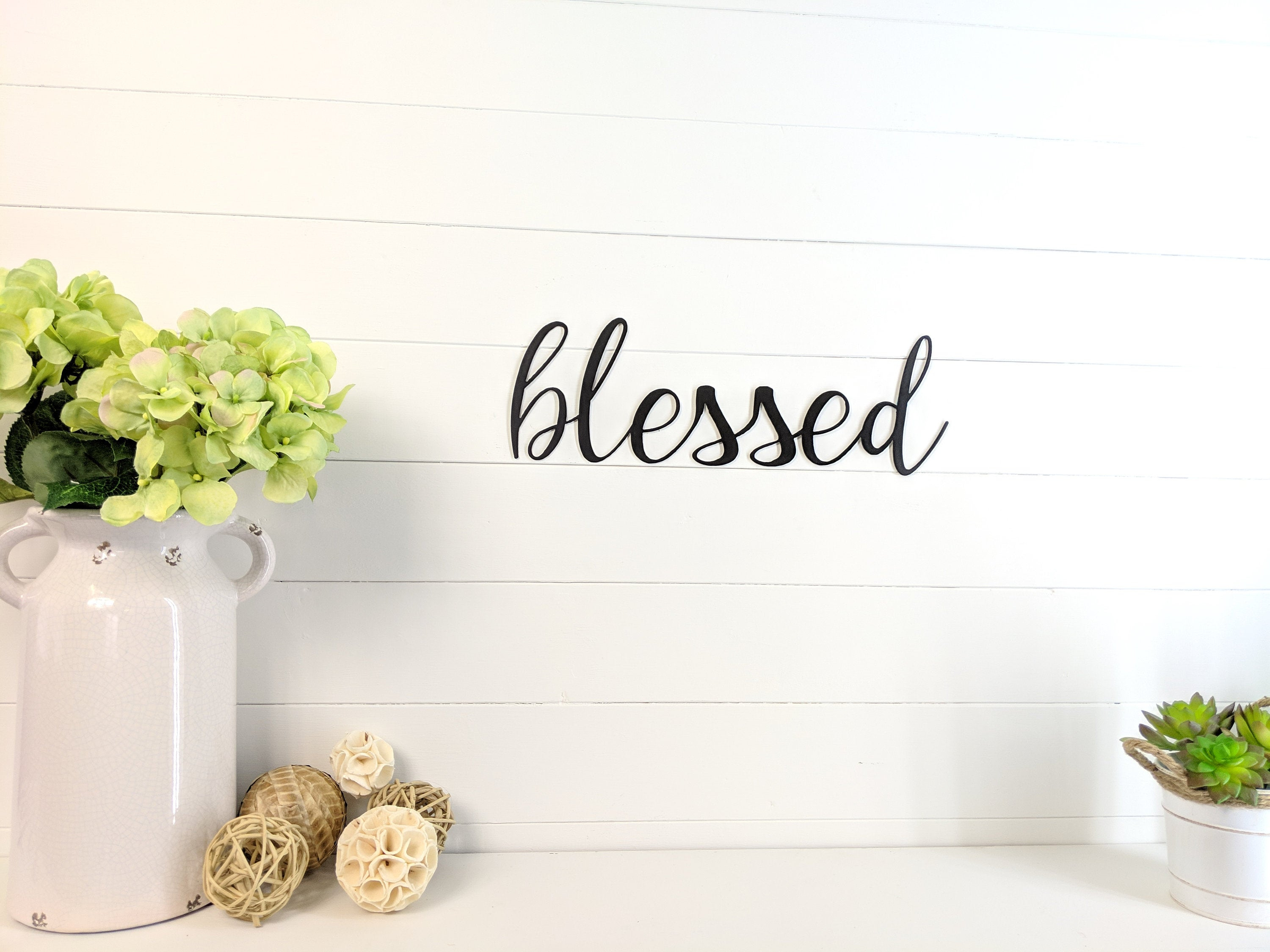 Blessed Metal Wall Art Sign Decor Cursive Font Shipping Included With Regard To Blessed Steel Wall Decor (View 4 of 30)