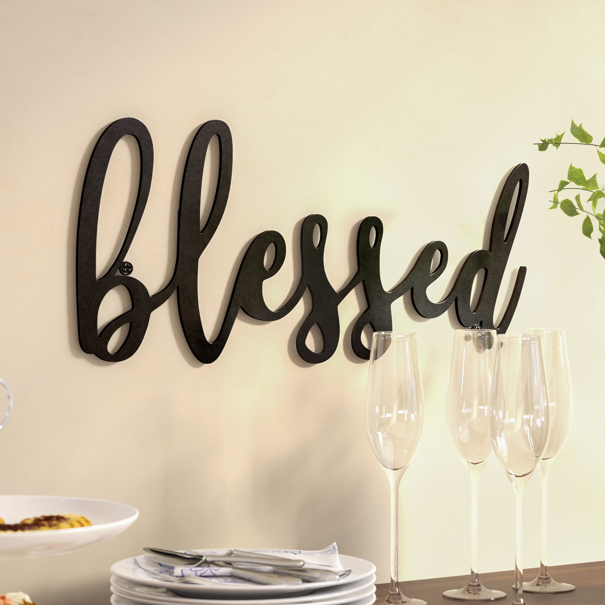 Blessed Metal Wall Décor pertaining to Metal Laundry Room Wall Decor by Winston Porter (Image 4 of 30)