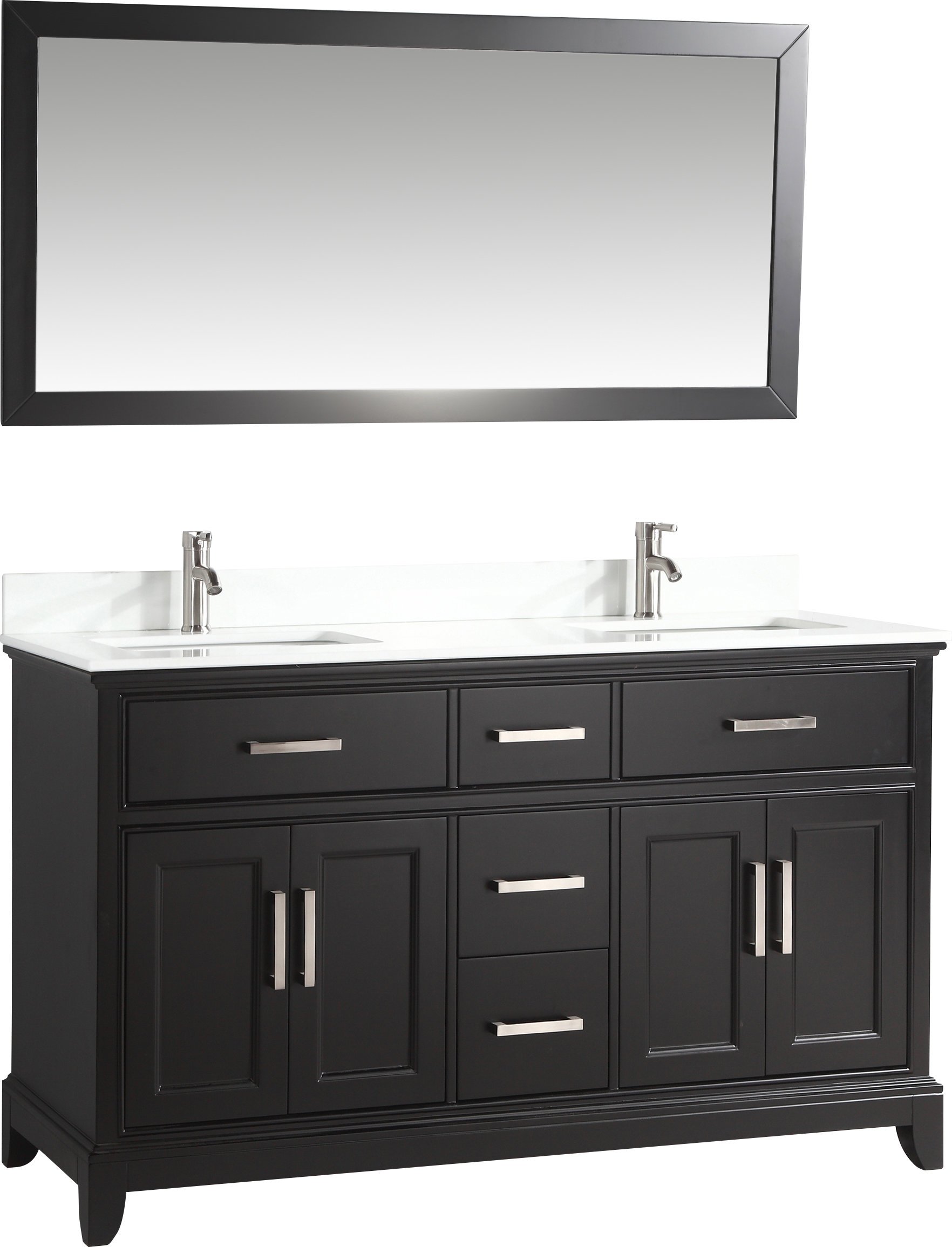 "Blevens 60"" Double Bathroom Vanity Set With Mirror Inside Landover Rustic Distressed Bathroom/vanity Mirrors (View 5 of 30)"