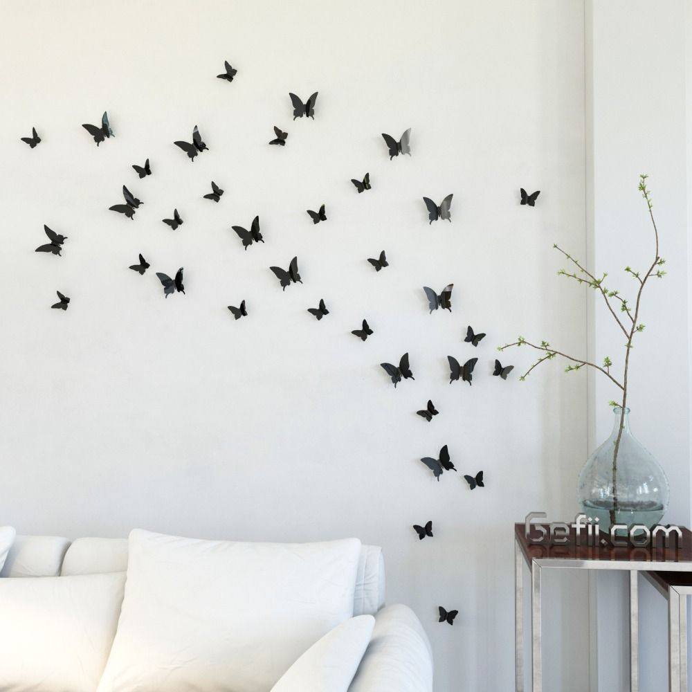 Bling Store)Mariposa In Gossip Girl 12Pcs/pack Black Pvc 3D pertaining to Mariposa 9 Piece Wall Decor (Image 7 of 30)