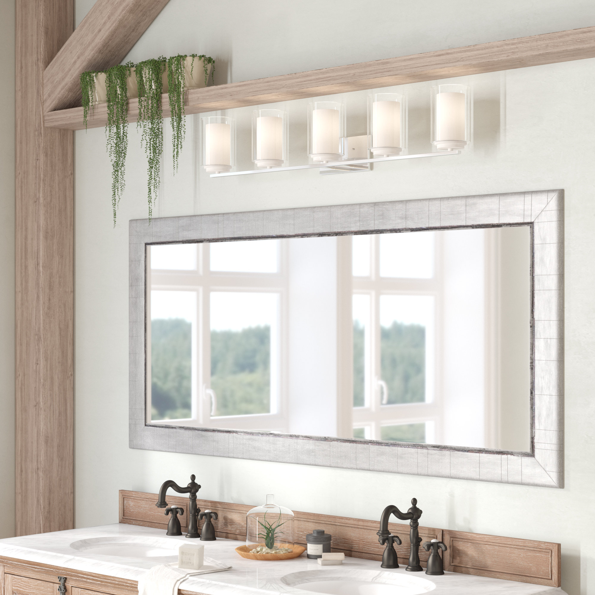 Bloomsbury Market Dostie Bathroom/vanity Mirror & Reviews Throughout Landover Rustic Distressed Bathroom/vanity Mirrors (View 6 of 30)