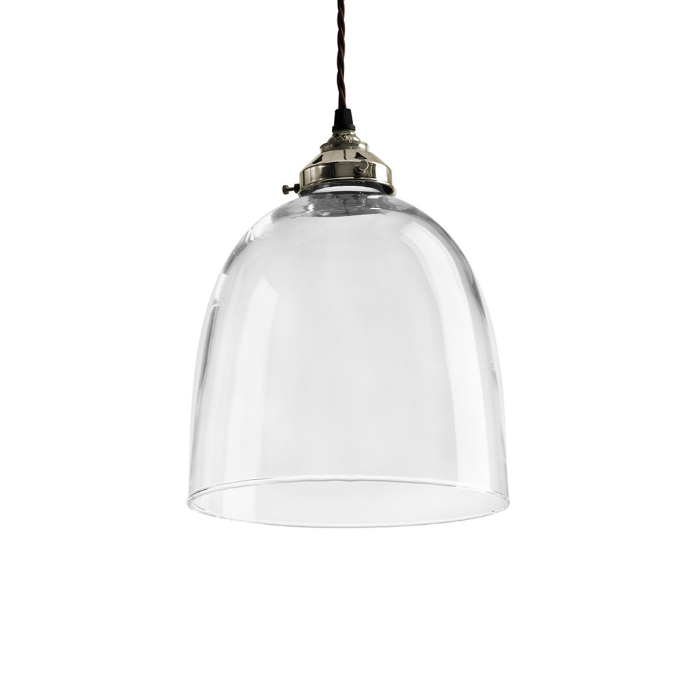 Blown Glass Bell Pendant – Nickel – Large Intended For Amara 3 Light Dome Pendants (Image 9 of 30)