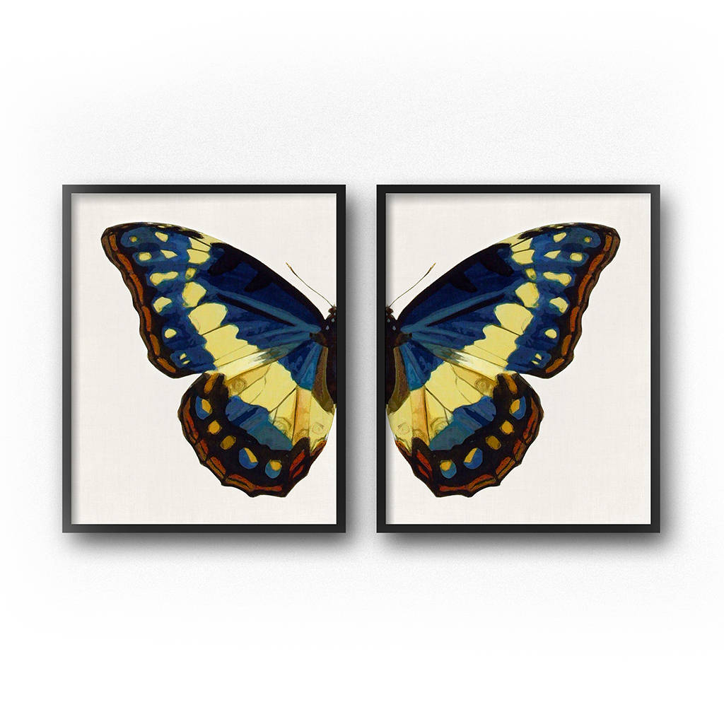 Blue Butterfly Wall Art Print Set Of 2, Downloadable Prints, Butterfly Print, Butterfly Wings, Printable Art Set, Diptych, Butterfly Art Inside 3 Piece Capri Butterfly Wall Decor Sets (View 22 of 30)
