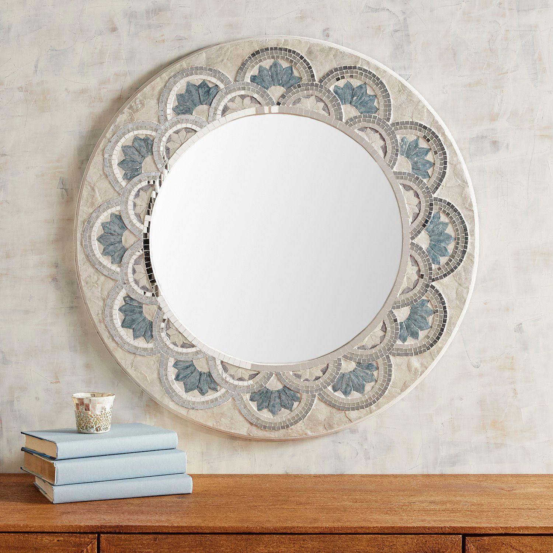 """Blue Capiz Flower 32"""" Round Mirror   Colleen   Mirror Throughout Point Reyes Molten Round Wall Mirrors (View 5 of 30)"""