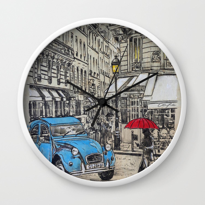 Blue Citroen Wall Clock inside Alvis Traditional Metal Wall Decor (Image 6 of 30)